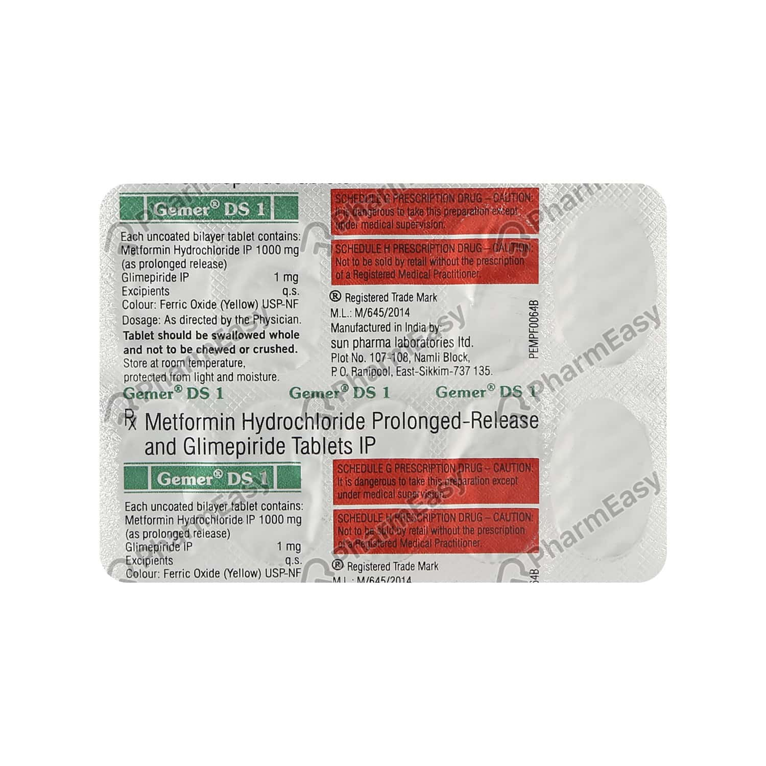 Gemer Ds 1mg Strip Of 10 Tablets