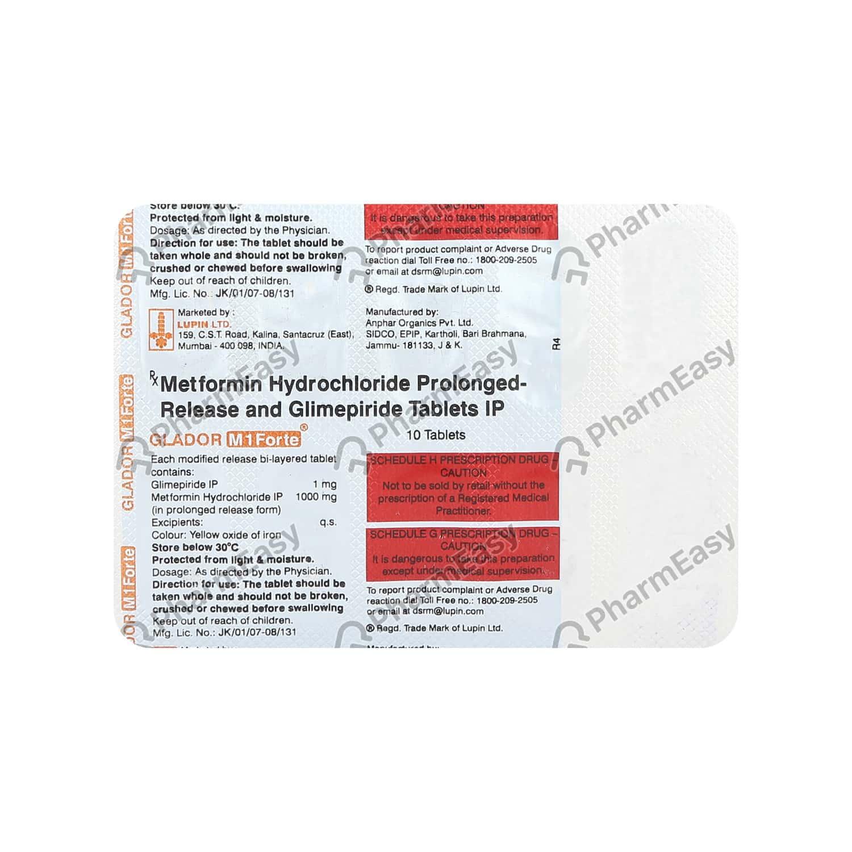 Glador M 1mg Forte Strip Of 10 Tablets