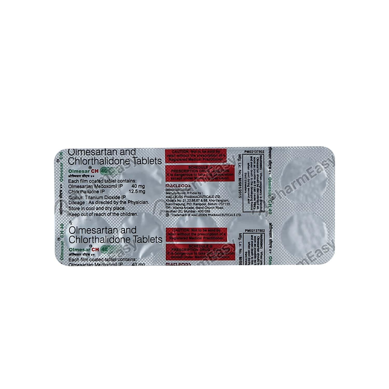 Olmesar Ch 40mg Strip Of 10 Tablets