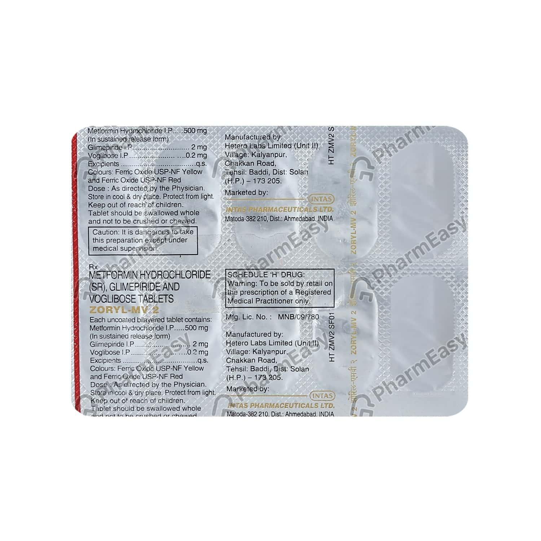 Zoryl Mv 2mg Strip Of 10 Tablets