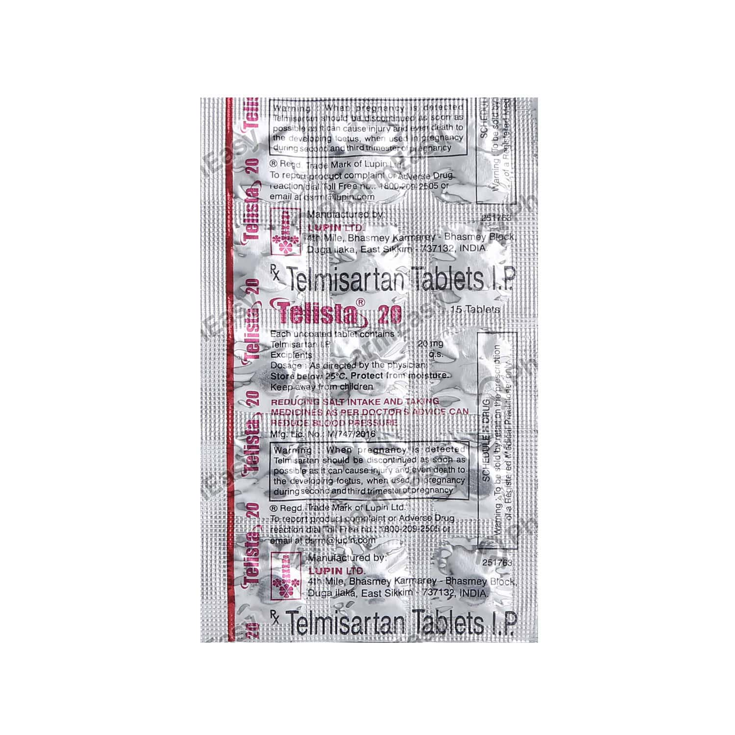 Telista 20mg Strip Of 15 Tablets