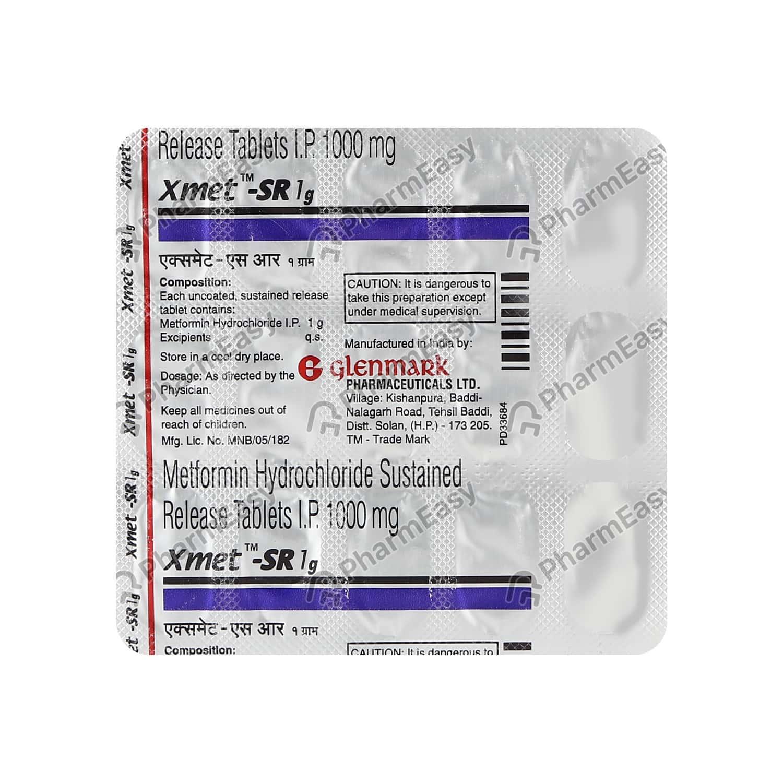 Xmet Sr 1gm Strip Of 15 Tablets