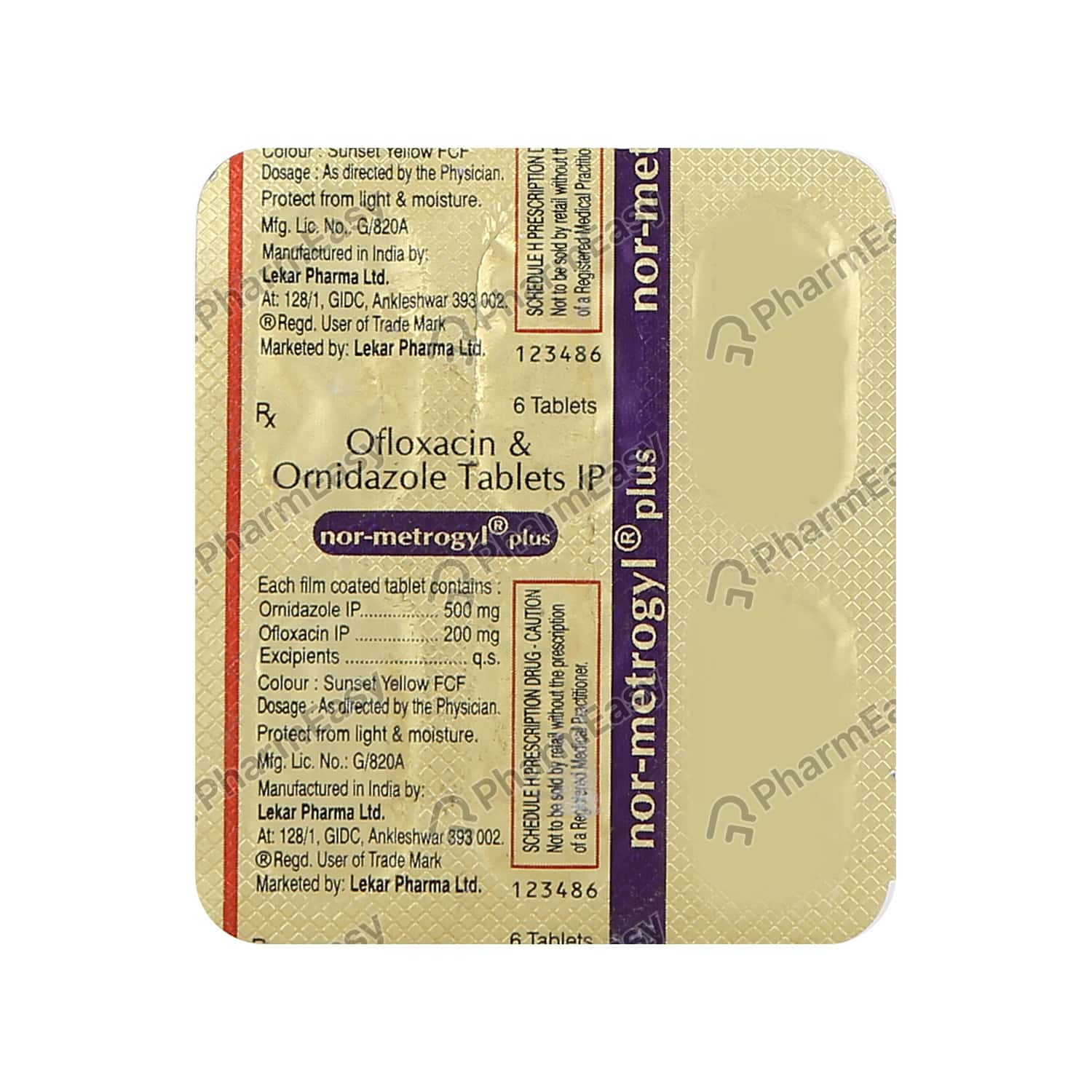 Nor Metrogyl Plus Strip Of 6 Tablets