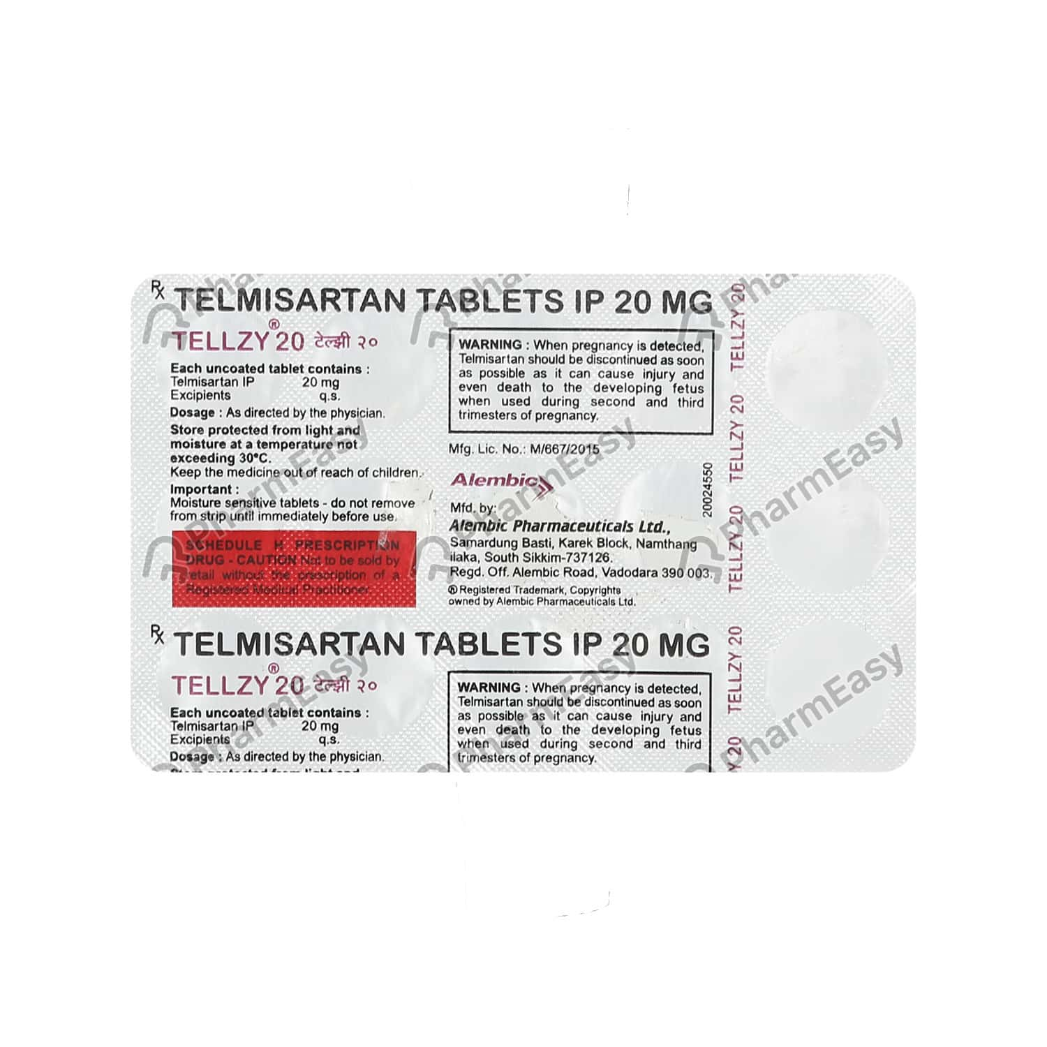 Tellzy 20mg Strip Of 15 Tablets
