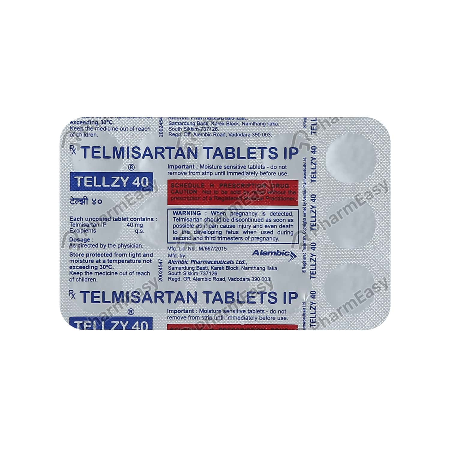 Tellzy 40mg Strip Of 15 Tablets