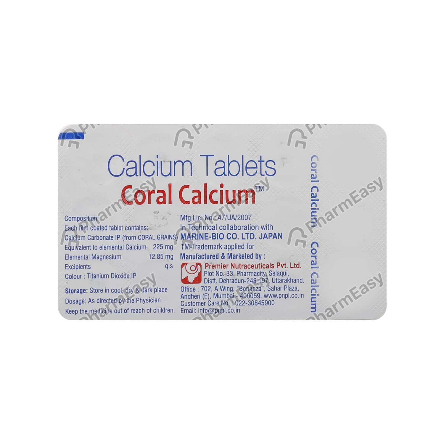 Coral Calcium Strip Of 15 Tablets