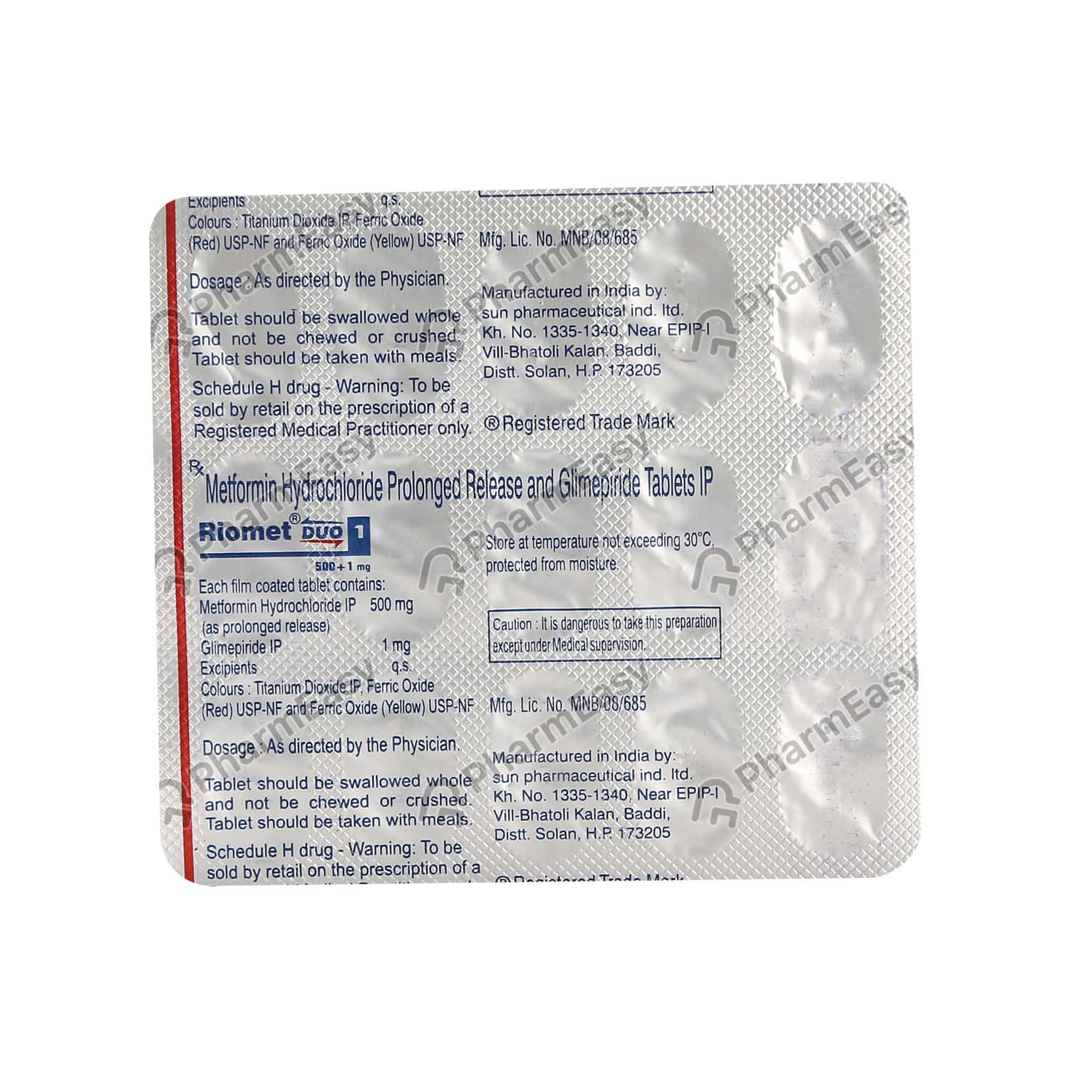 Riomet Duo 1mg Strip Of 15 Tablets