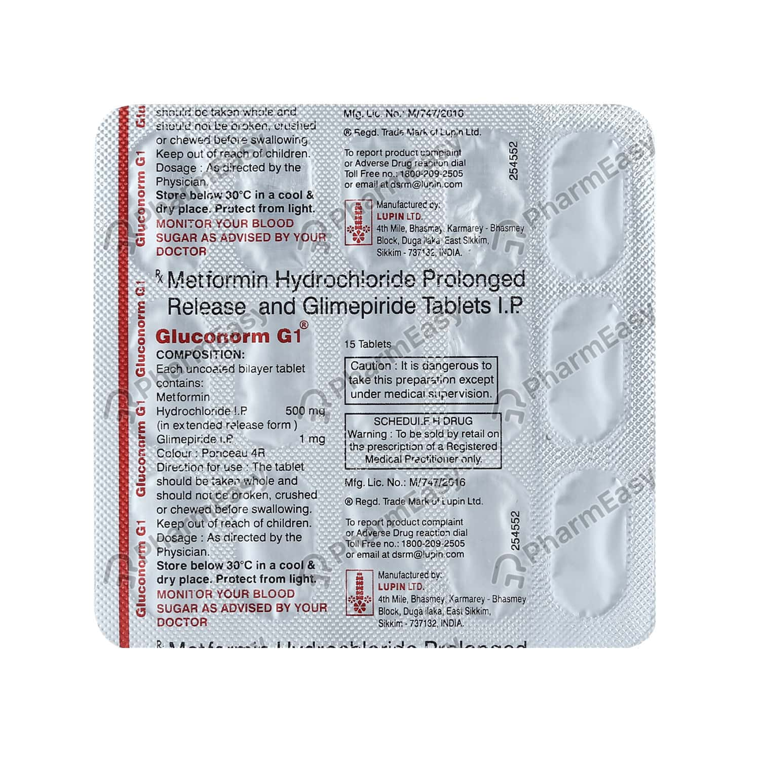Gluconorm G 1mg Strip Of 15 Tablets