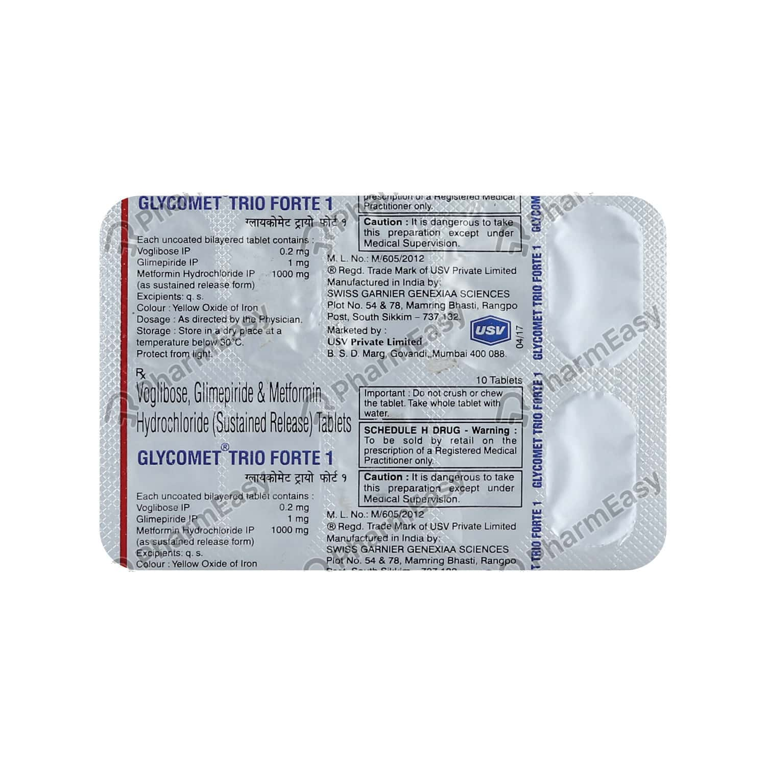 Glycomet Trio Forte 1mg Tablet 10's