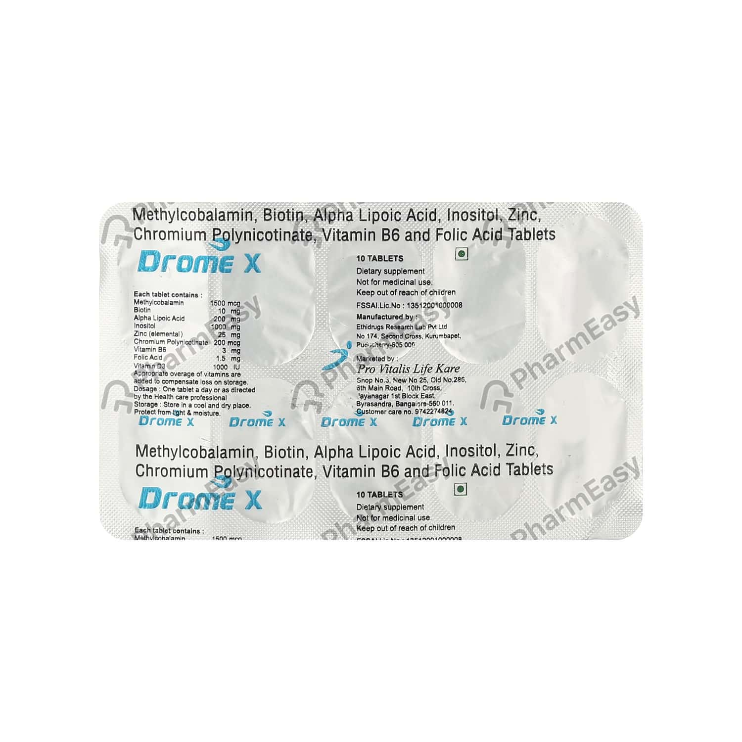 Drome X Strip Of 10 Tablets