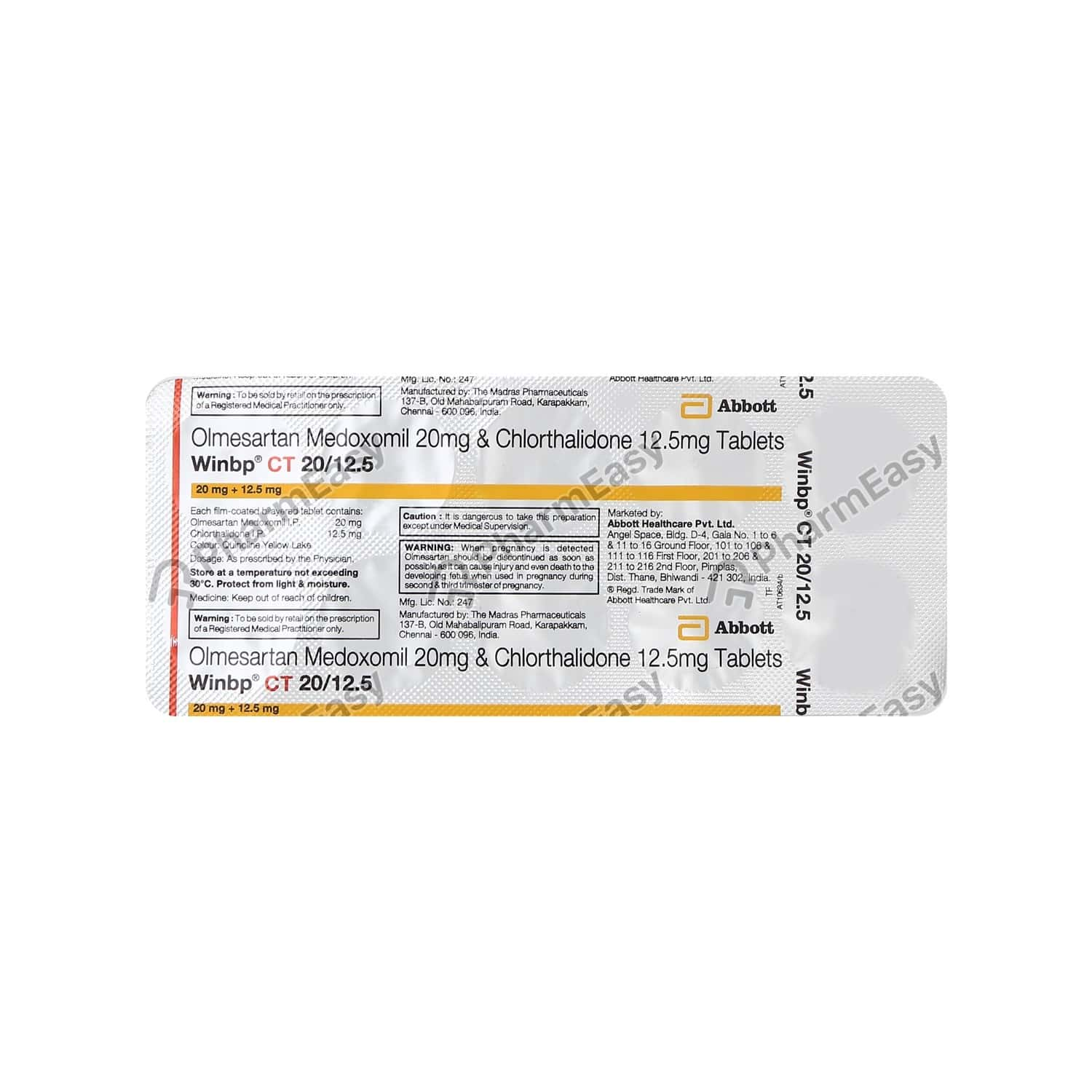 Winbp Ct 20/12.5mg Strip Of 10 Tablets