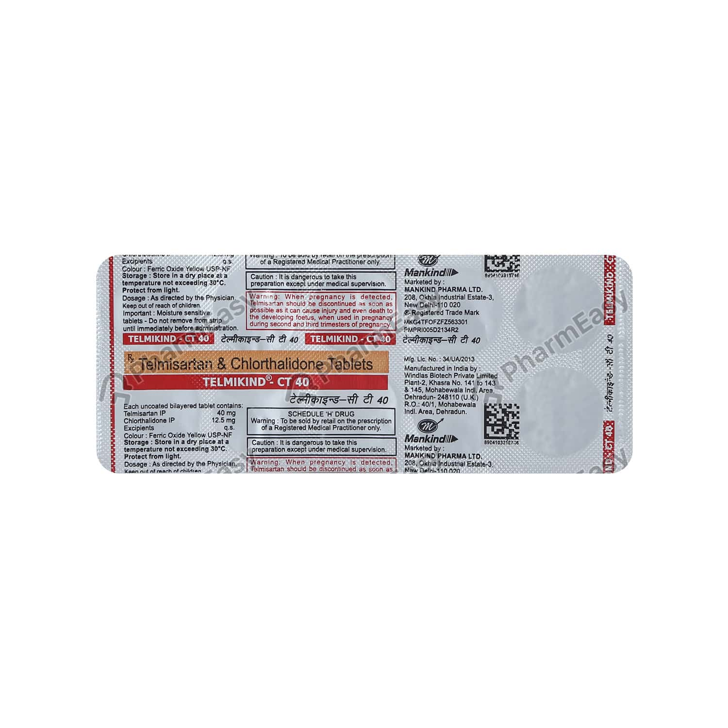 Telmikind Ct 40mg Strip Of 10 Tablets