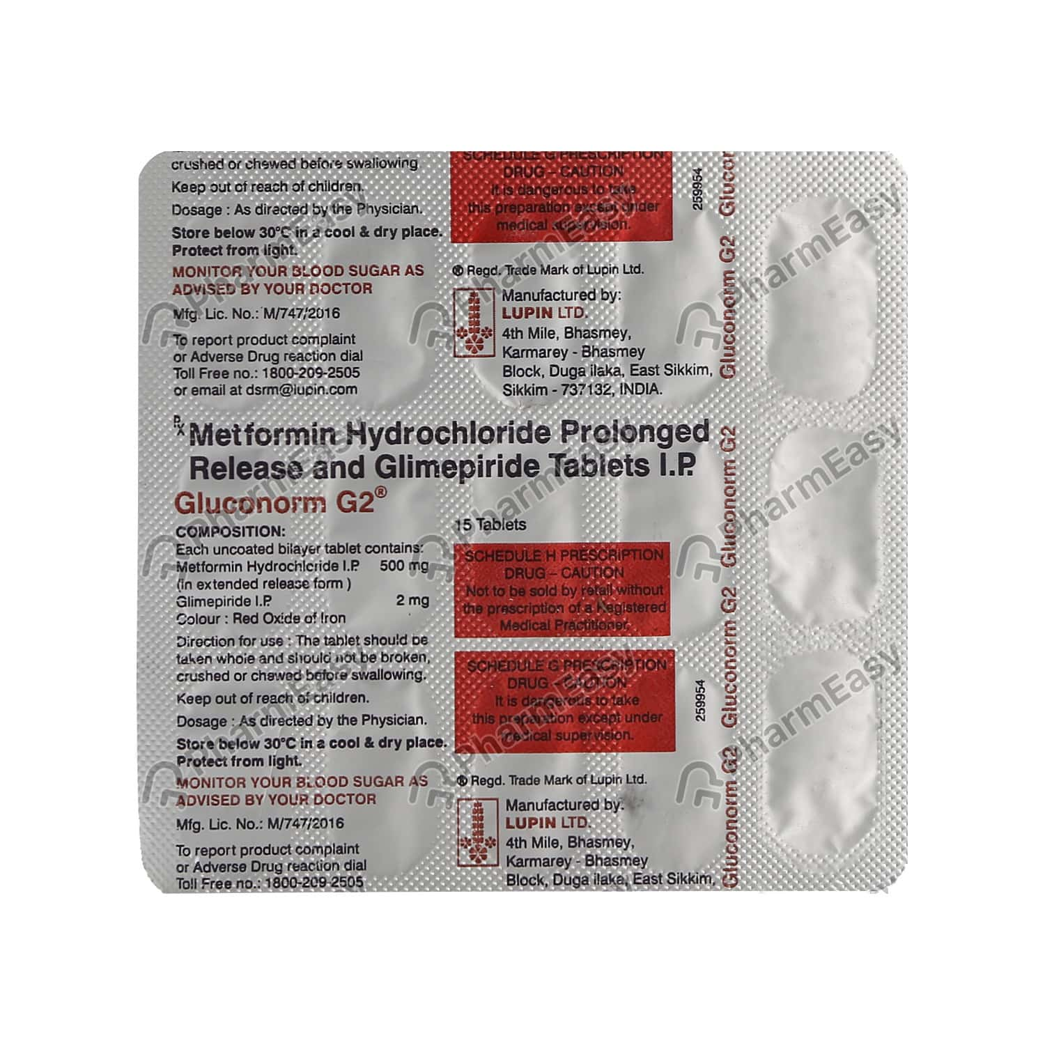 Gluconorm G 2mg Strip Of 15 Tablets