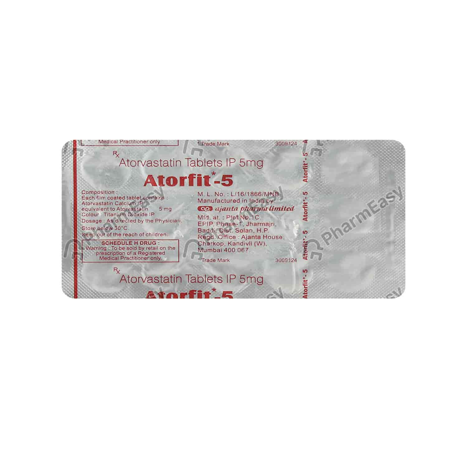 Atorfit 5mg Strip Of 15 Tablets