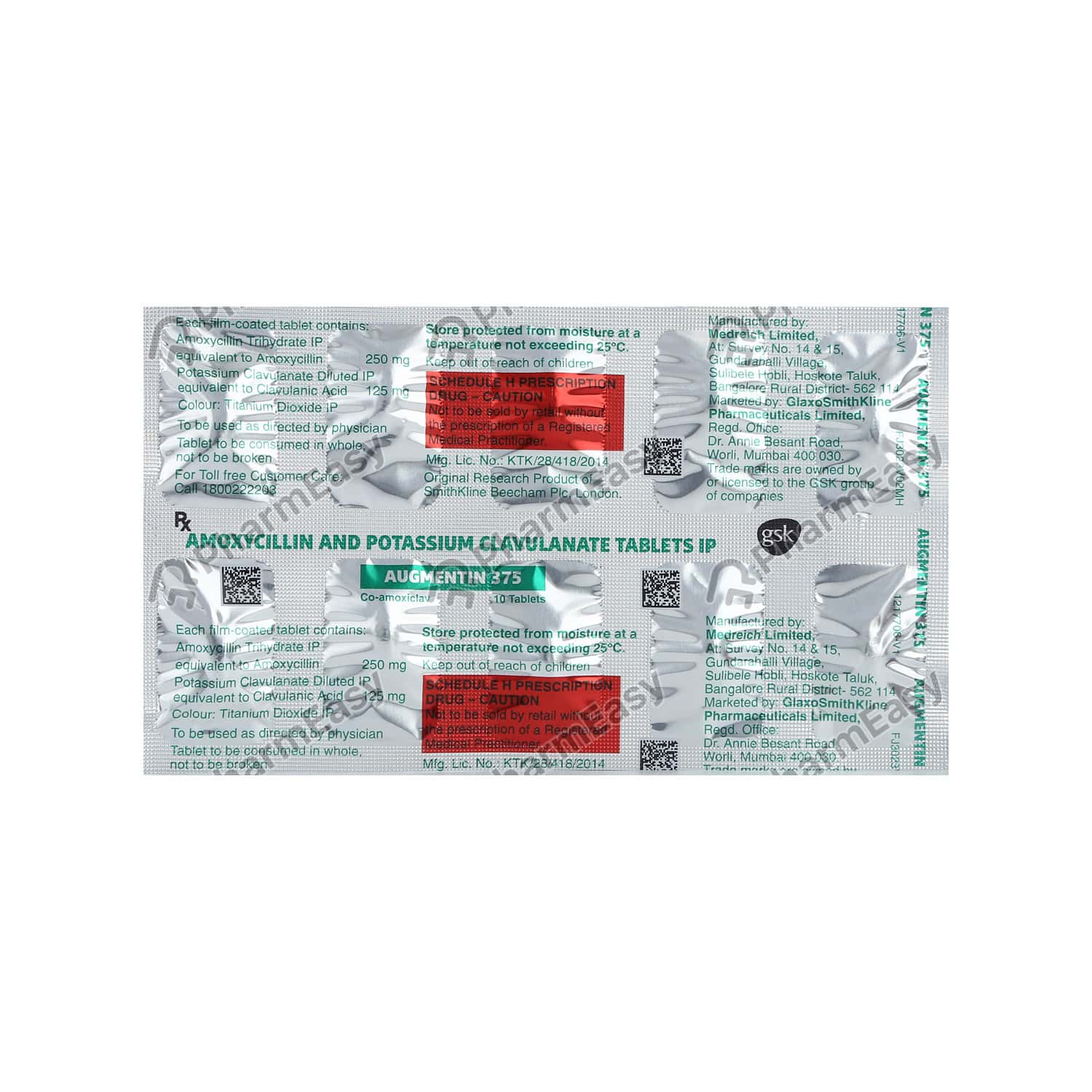 Augmentin 375mg Strip Of 10 Tablets