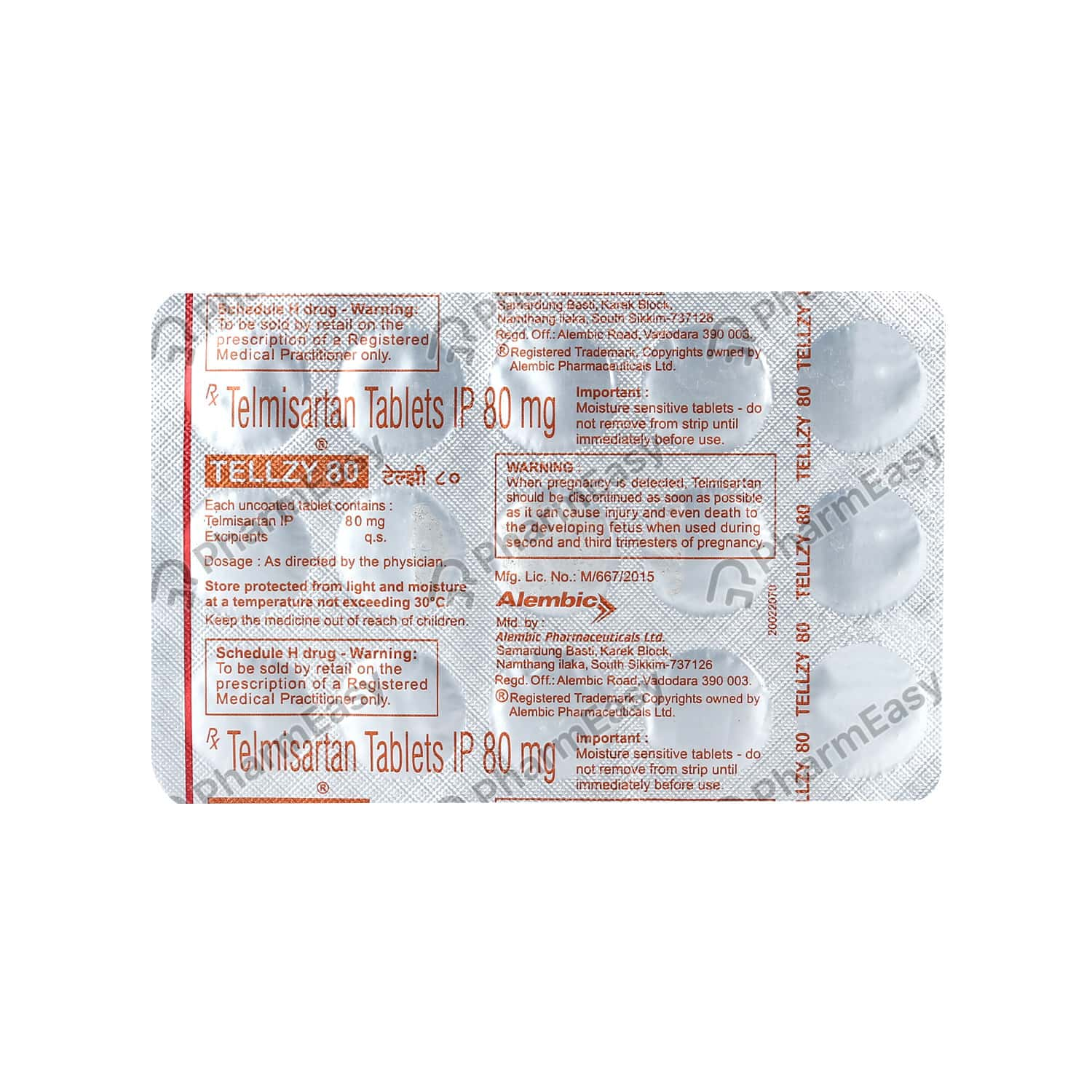 Tellzy 80mg Strip Of 15 Tablets