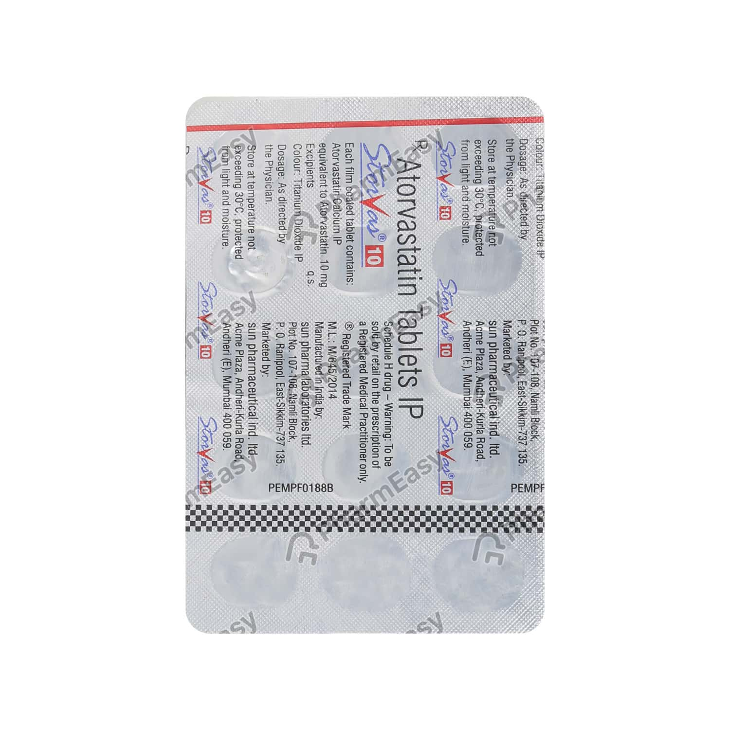 Storvas 10mg Strip Of 15 Tablets