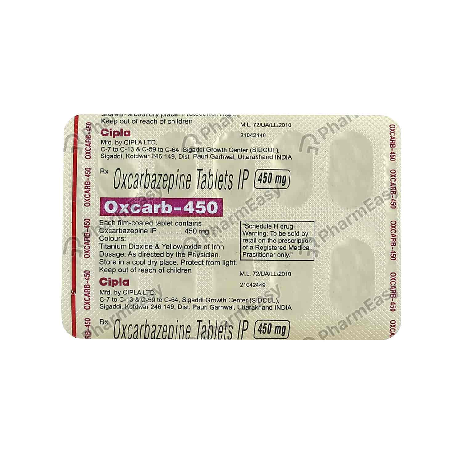 Oxcarb 450mg Tablet