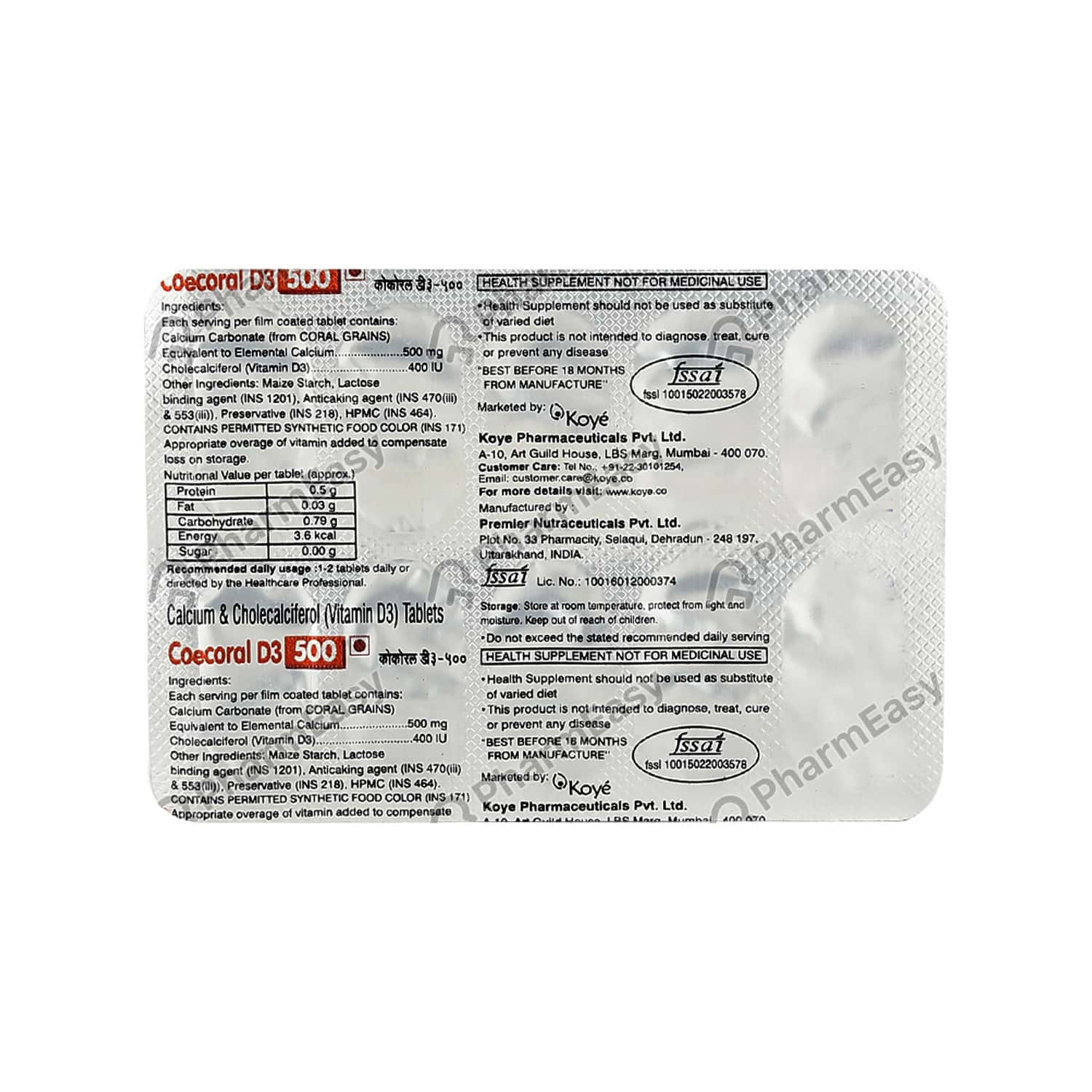 Coecoral D3 500mg Strip Of 10 Tablets