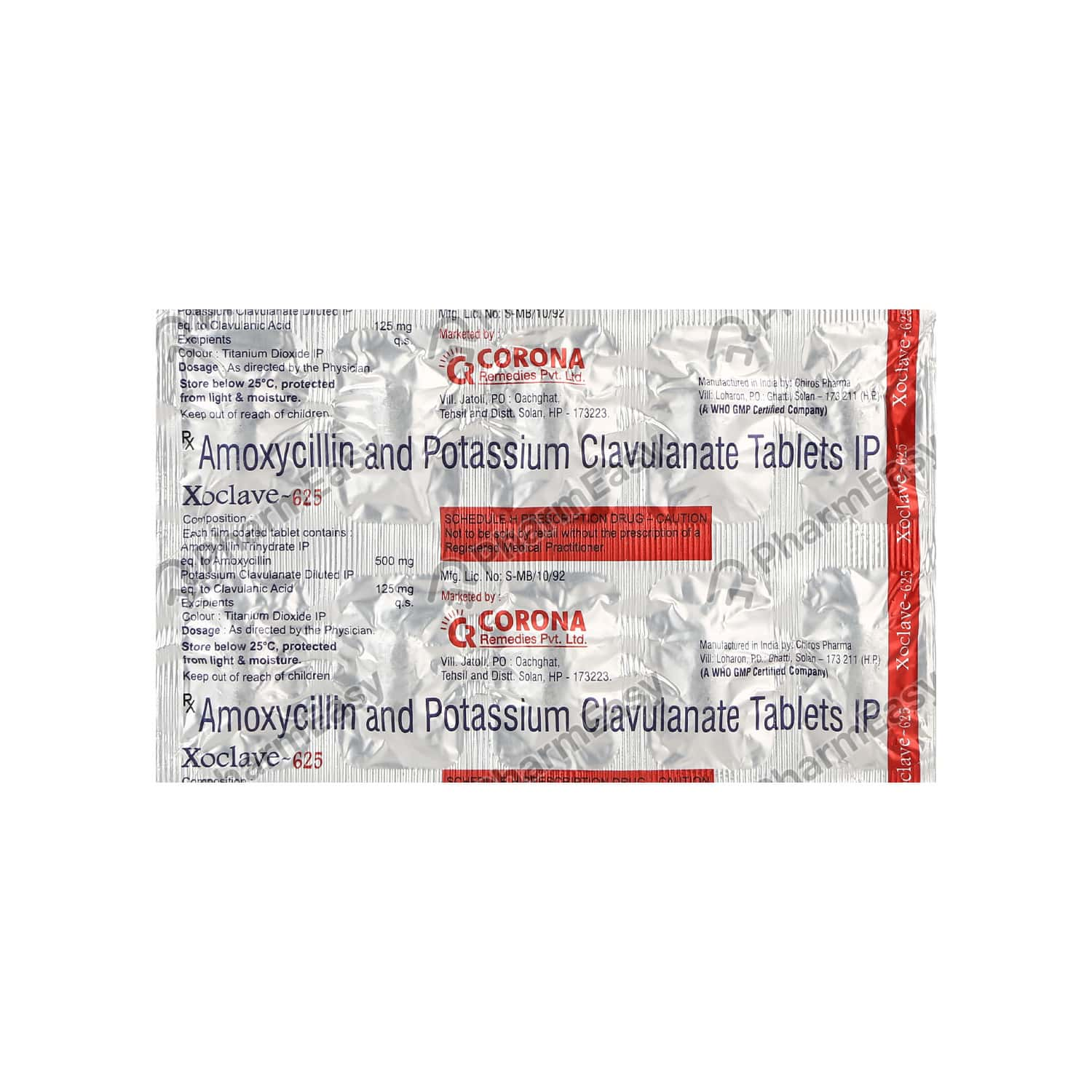 Xoclave 625mg Strip Of 10 Tablets