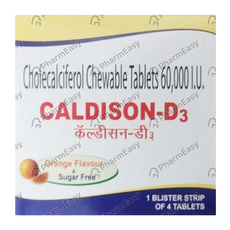 Caldison D3 Orange Flavour Sugar Free Strip Of 4 Chewable Tablets