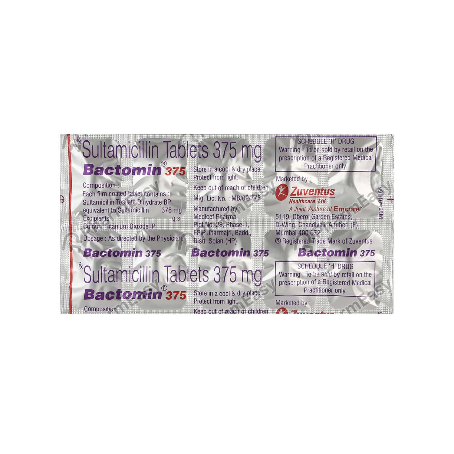 Bactomin 375mg Tablet