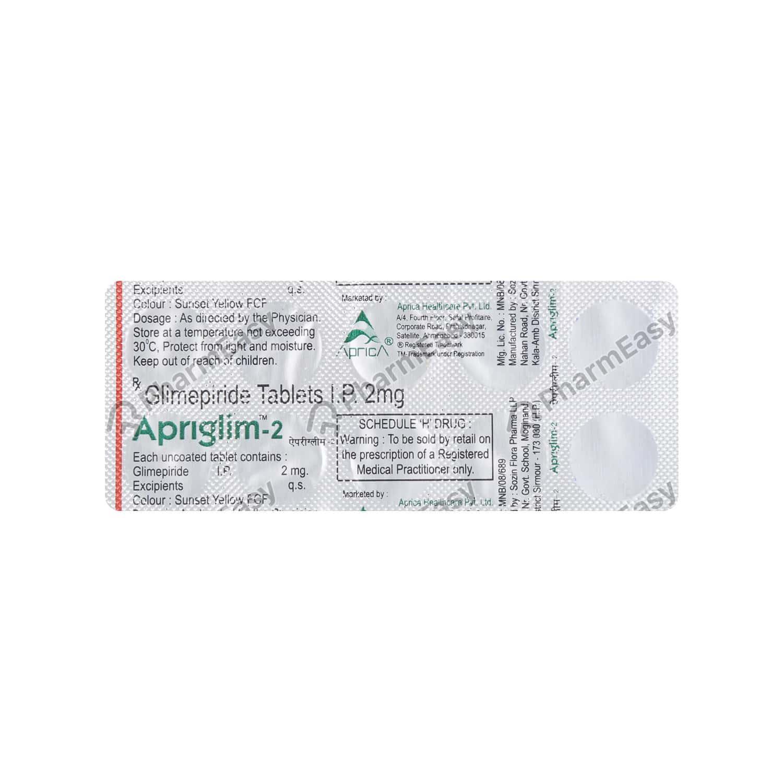 Apriglim 2mg Strip Of 10 Tablets