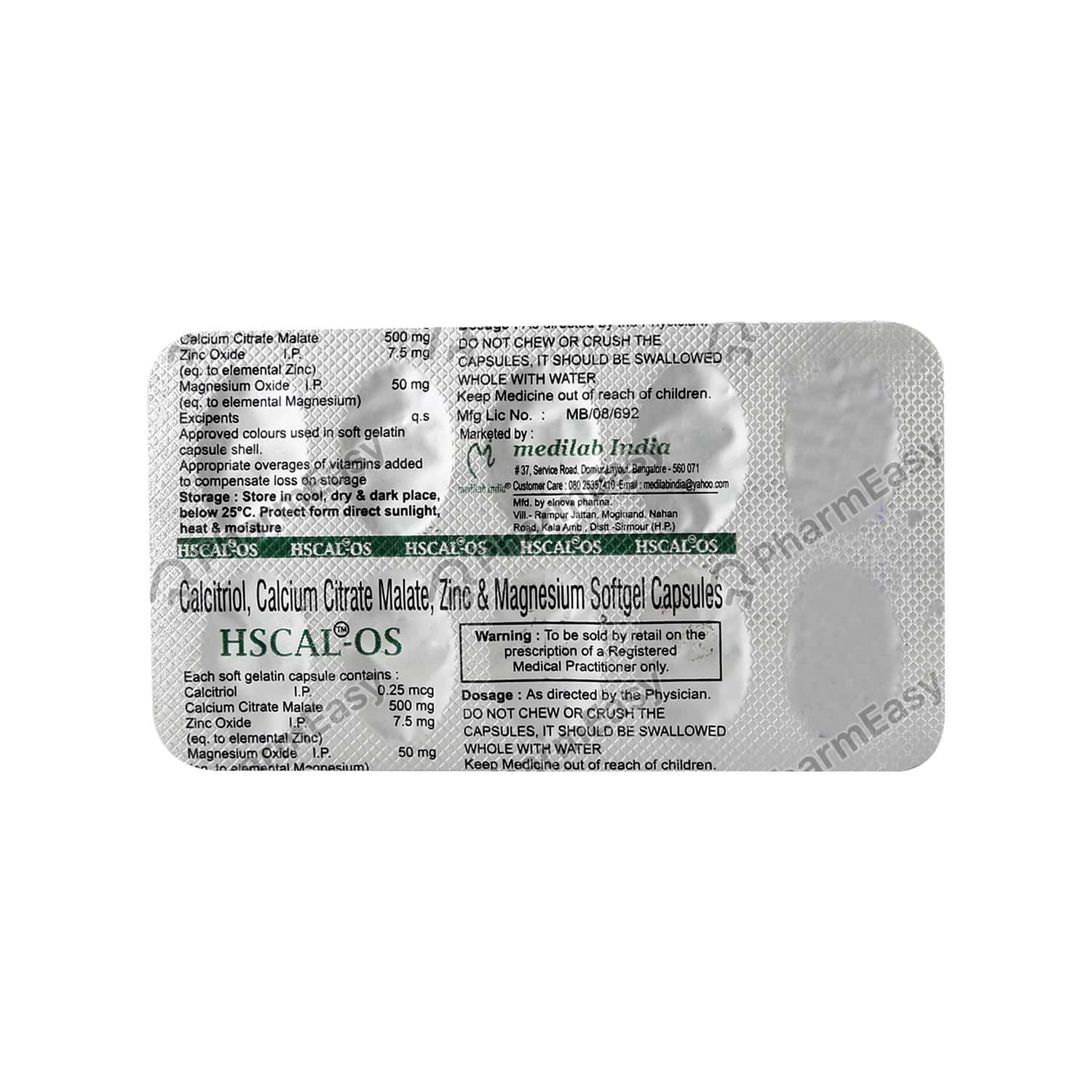 Hscal Os Strip Of 10 Capsules