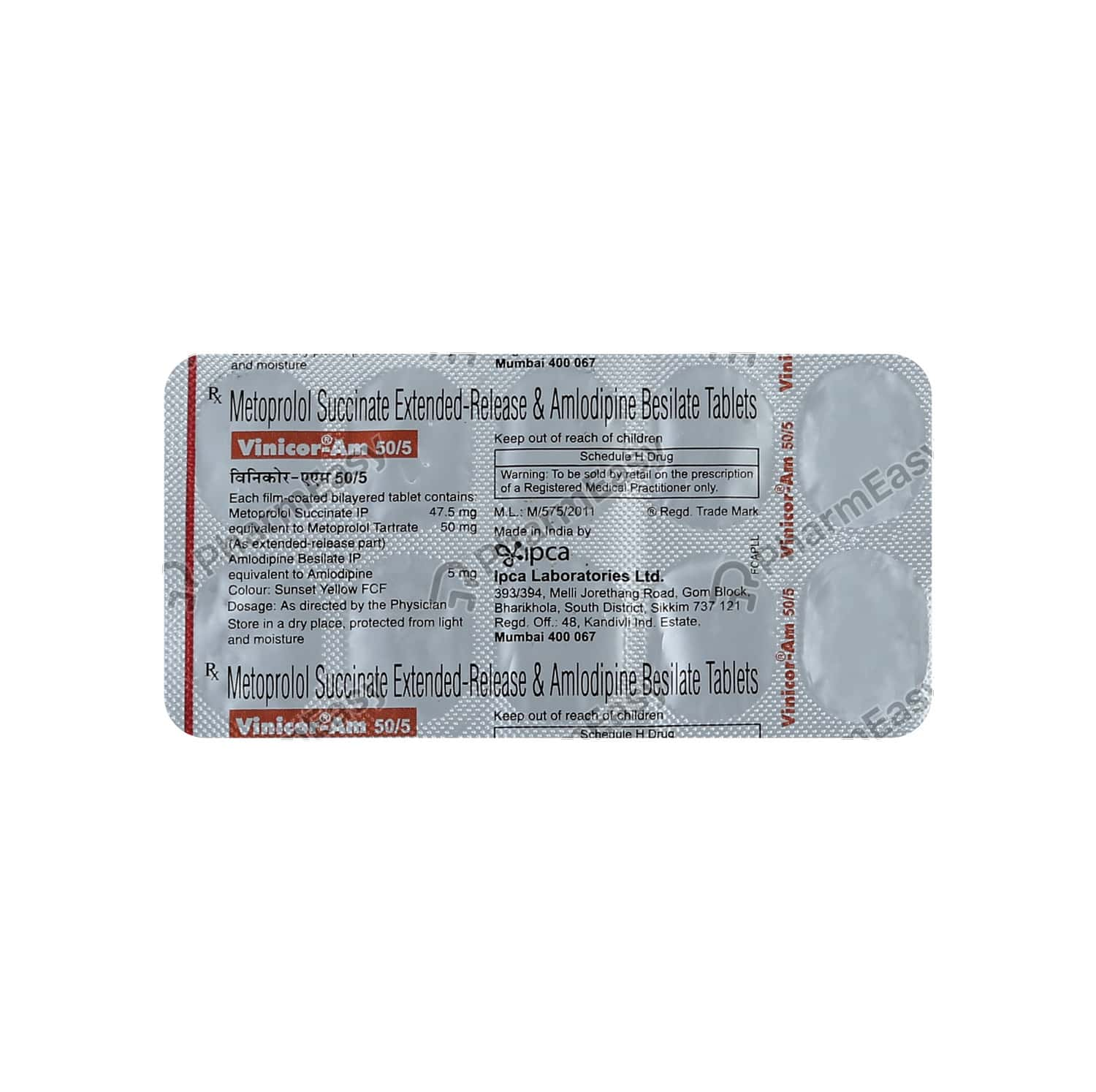 Vinicor Am 50mg Strip Of 10 Tablets