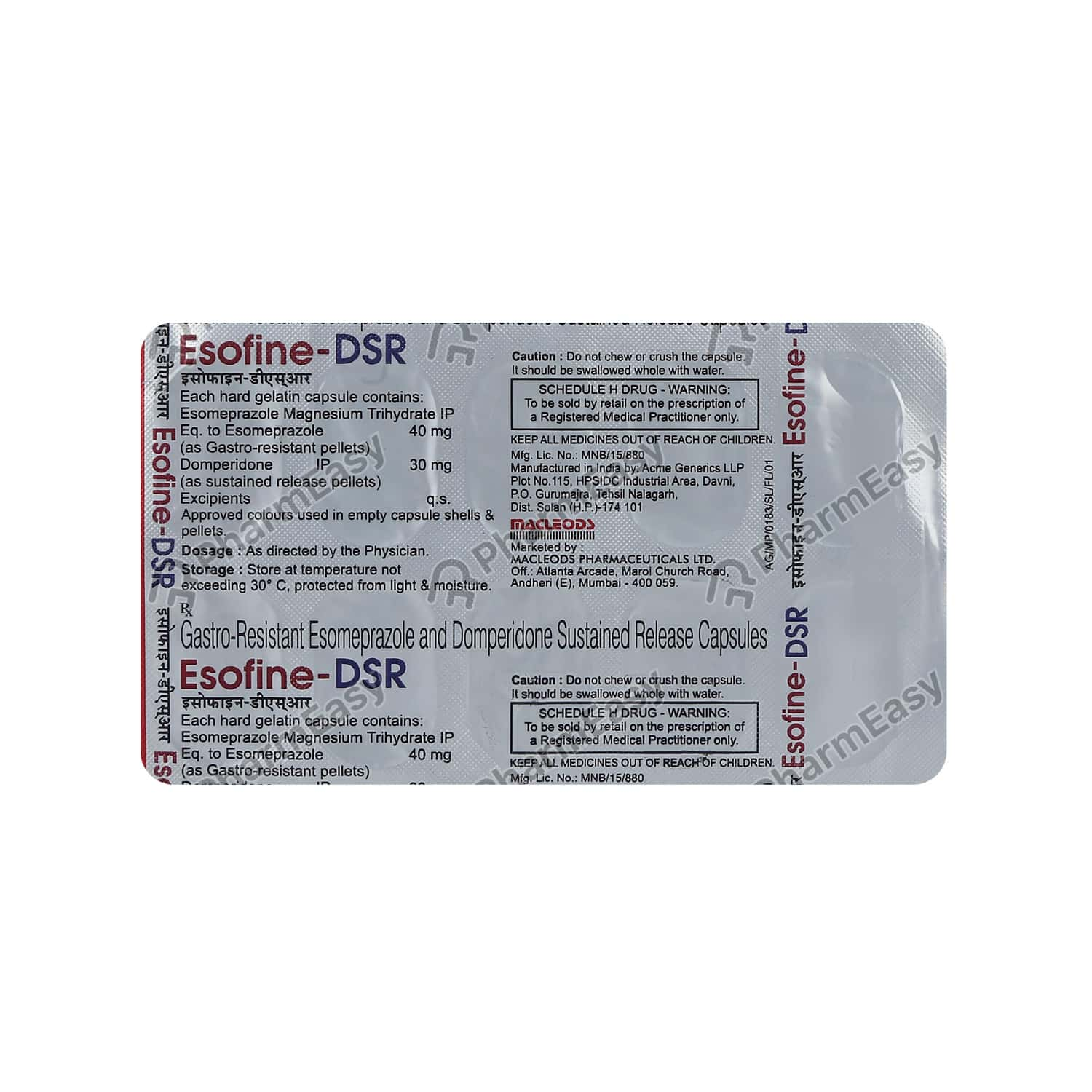 Esofine Dsr Strip Of 10 Capsules