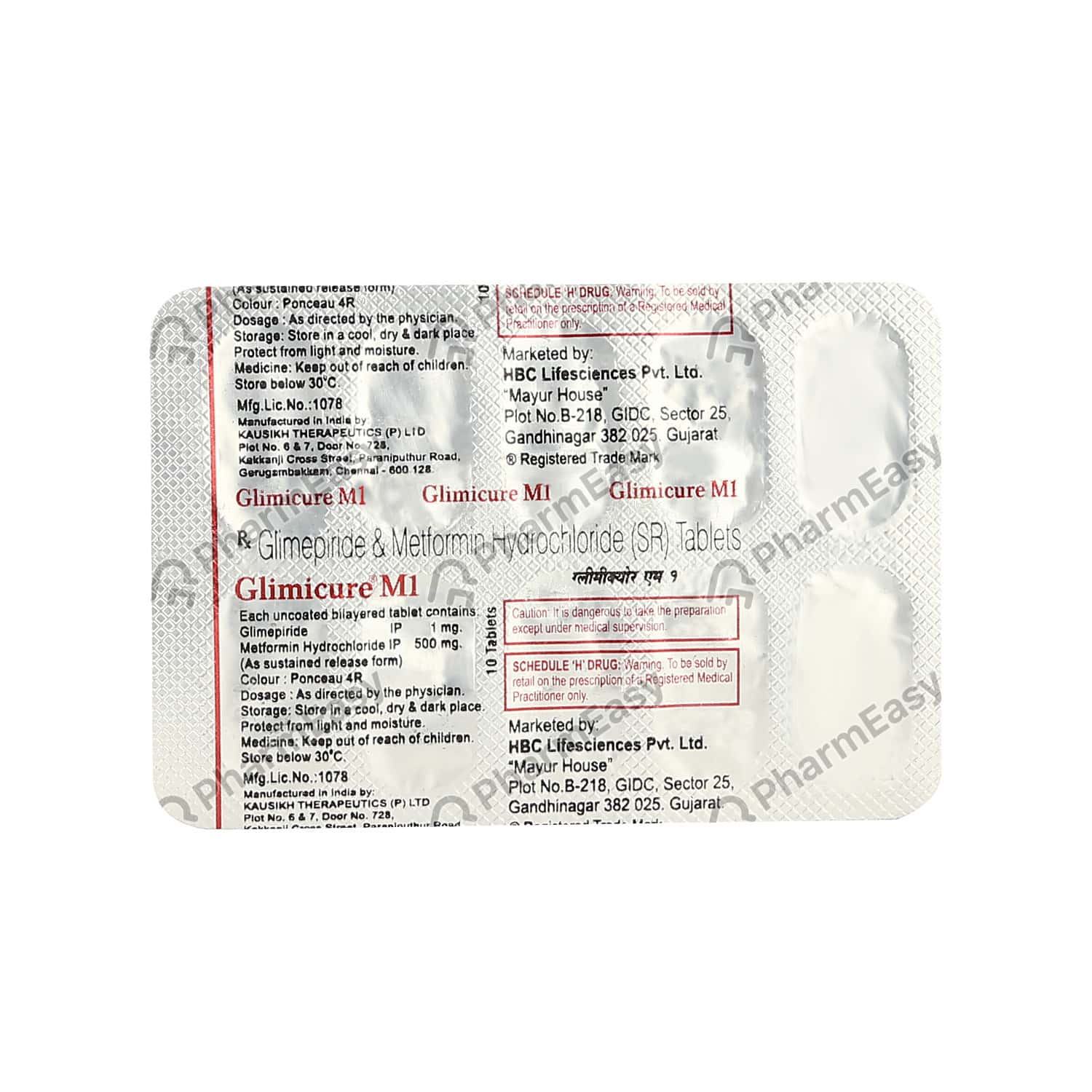 Glimicure M 1mg Strip Of 10 Tablets