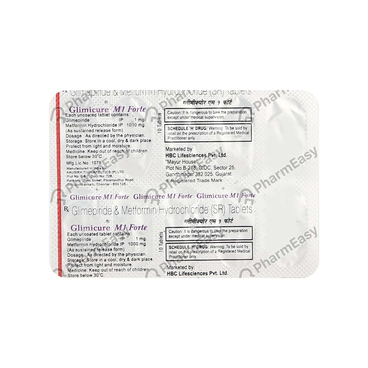 Glimicure M 1mg Forte Strip Of 10 Tablets
