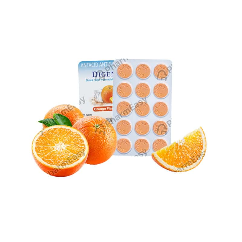 Digene Tablets Orange Flavour For Acidity & Gas Relief - 15's