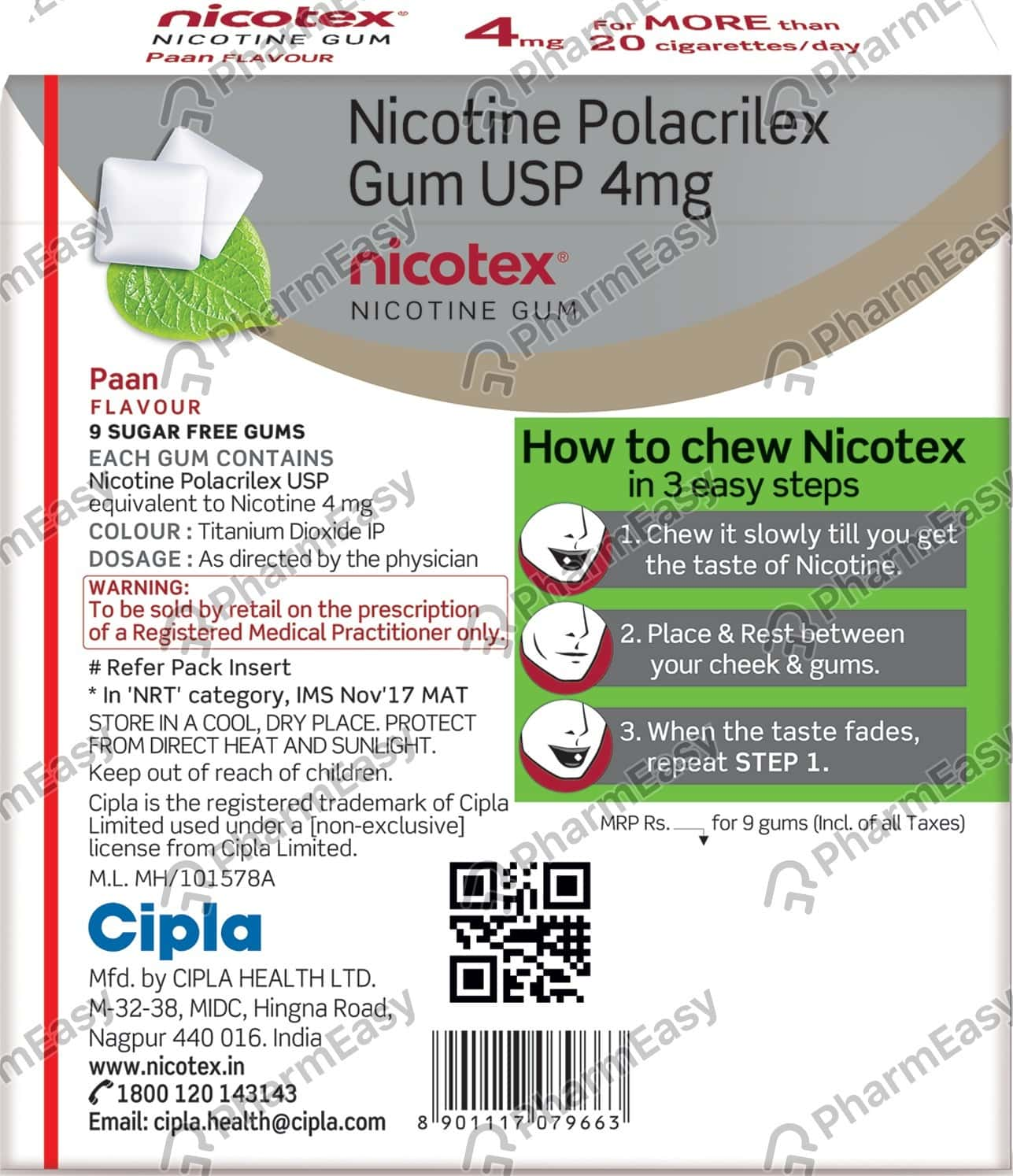 Nicotex 4mg Paan Flavour Sugar Free Strip Of 9 Chewing Gums