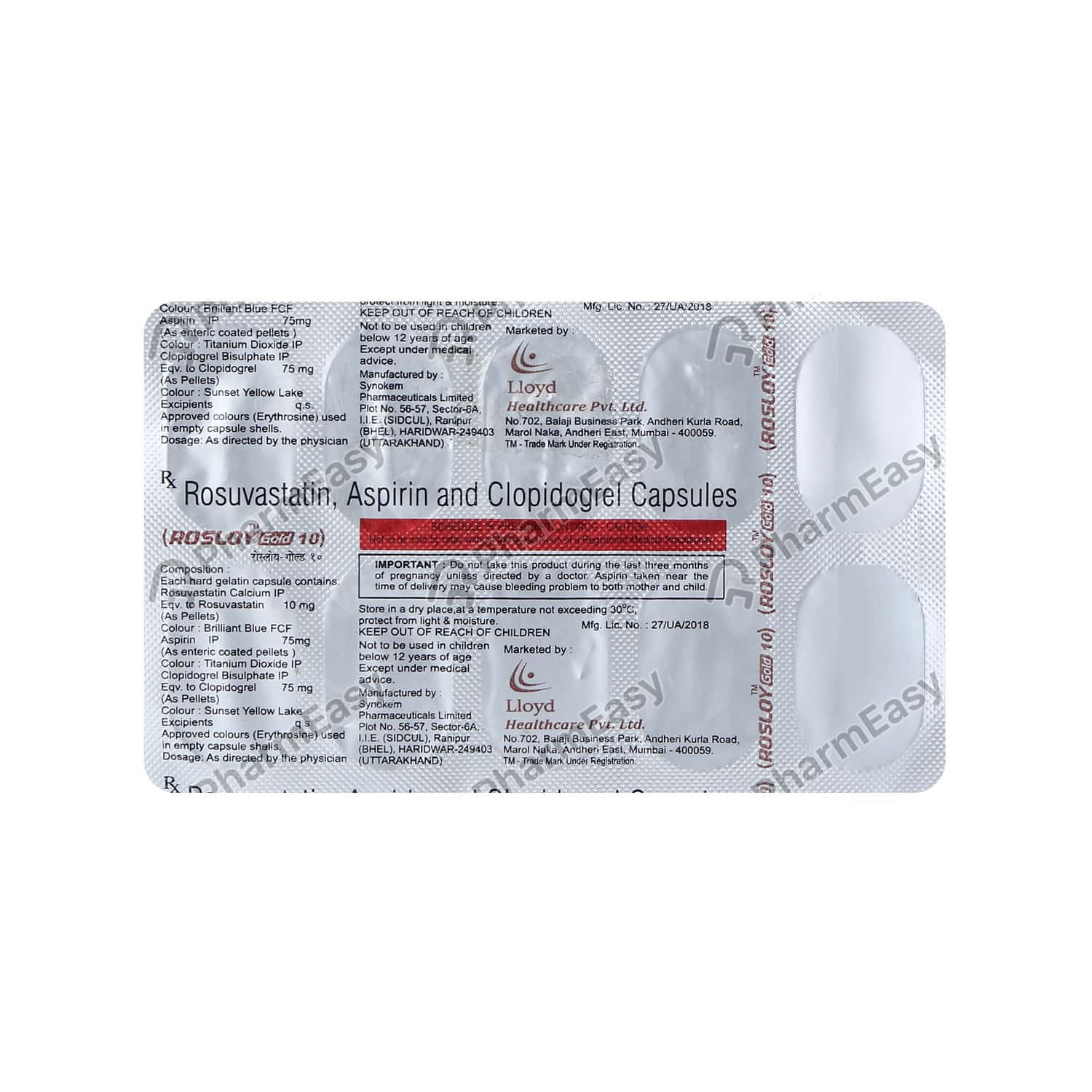 Rosloy Gold 10mg Strip Of 10 Capsules