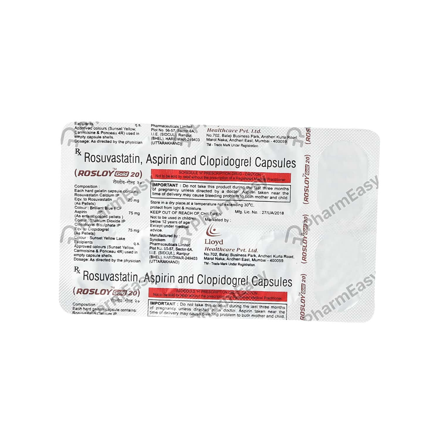 Rosloy Gold 20mg Strip Of 10 Capsules