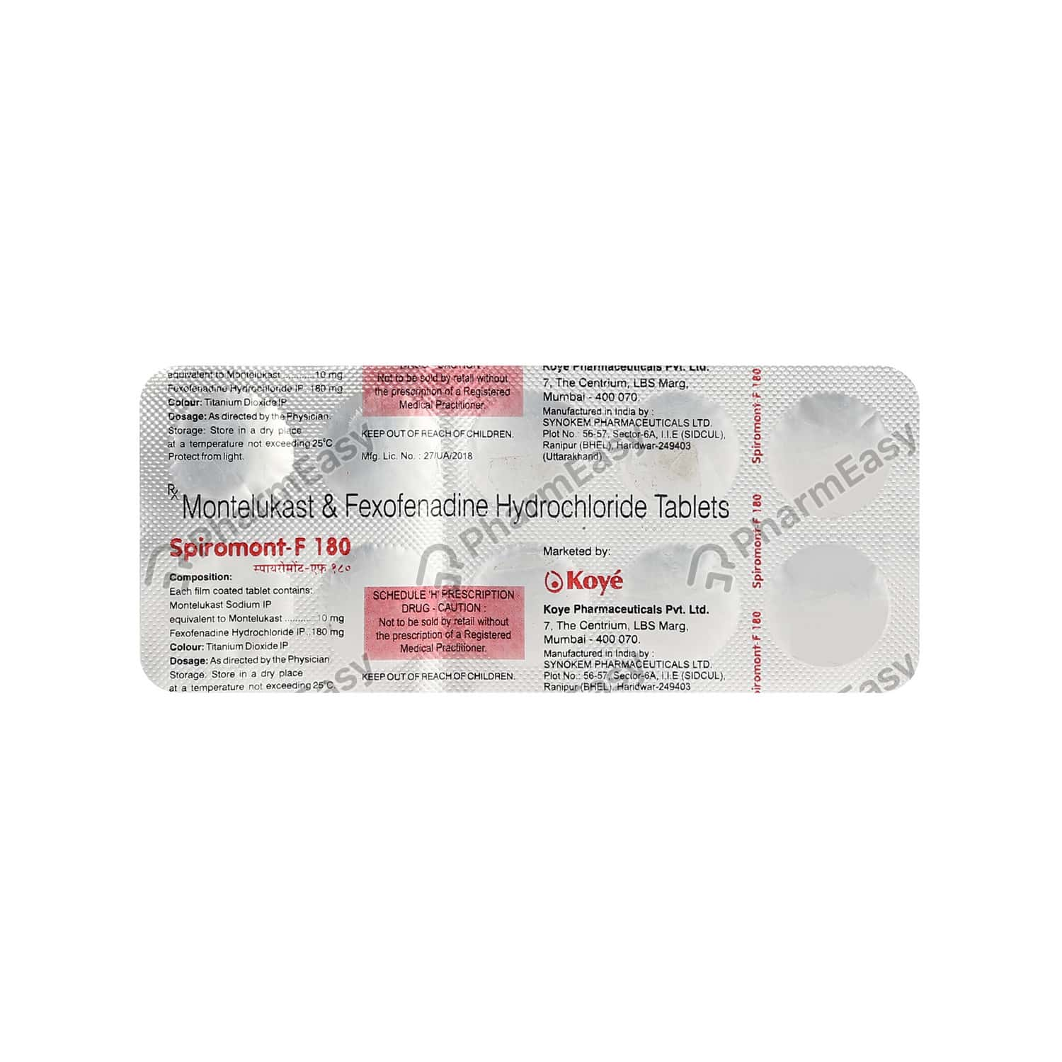 Spiromont F 180mg Tablet