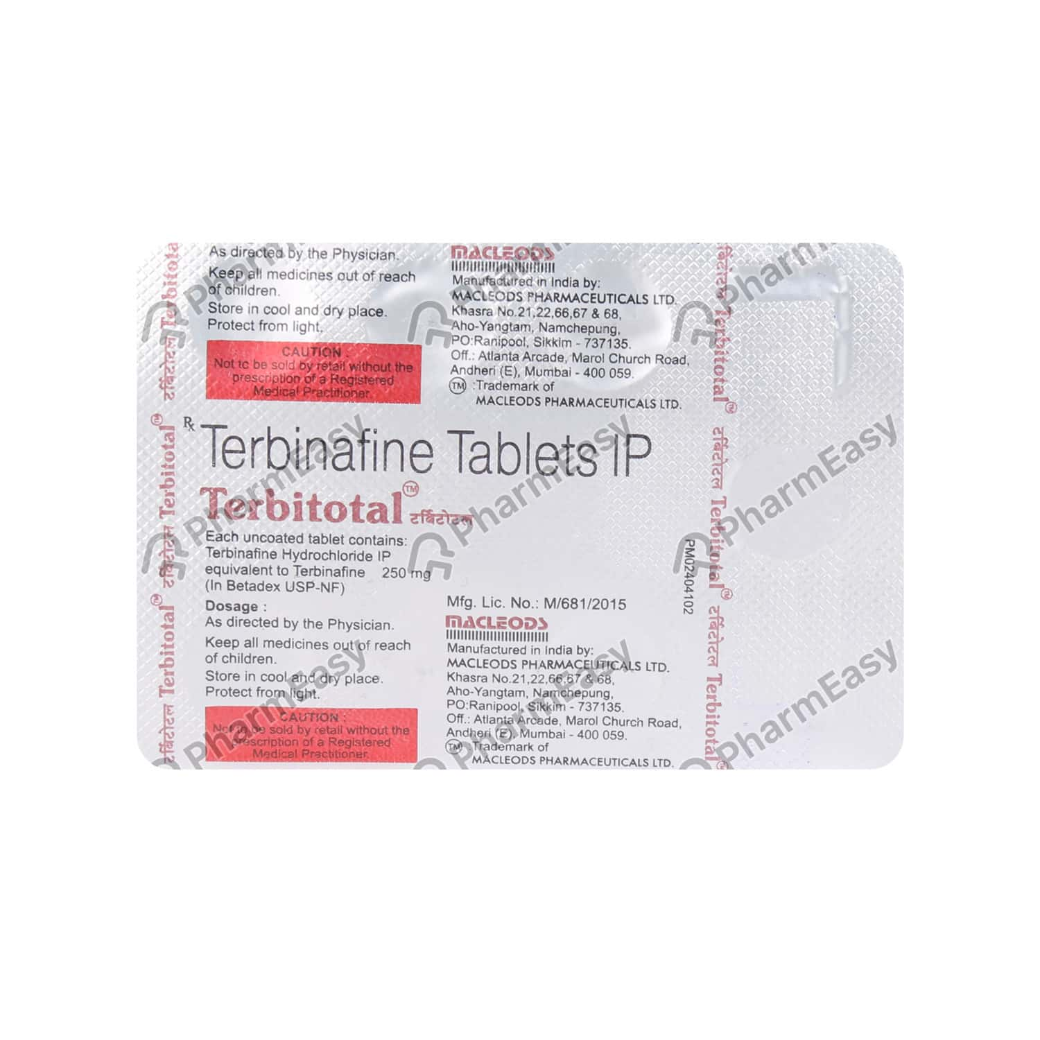 Terbitotal 250 Strip Of 7 Tablets