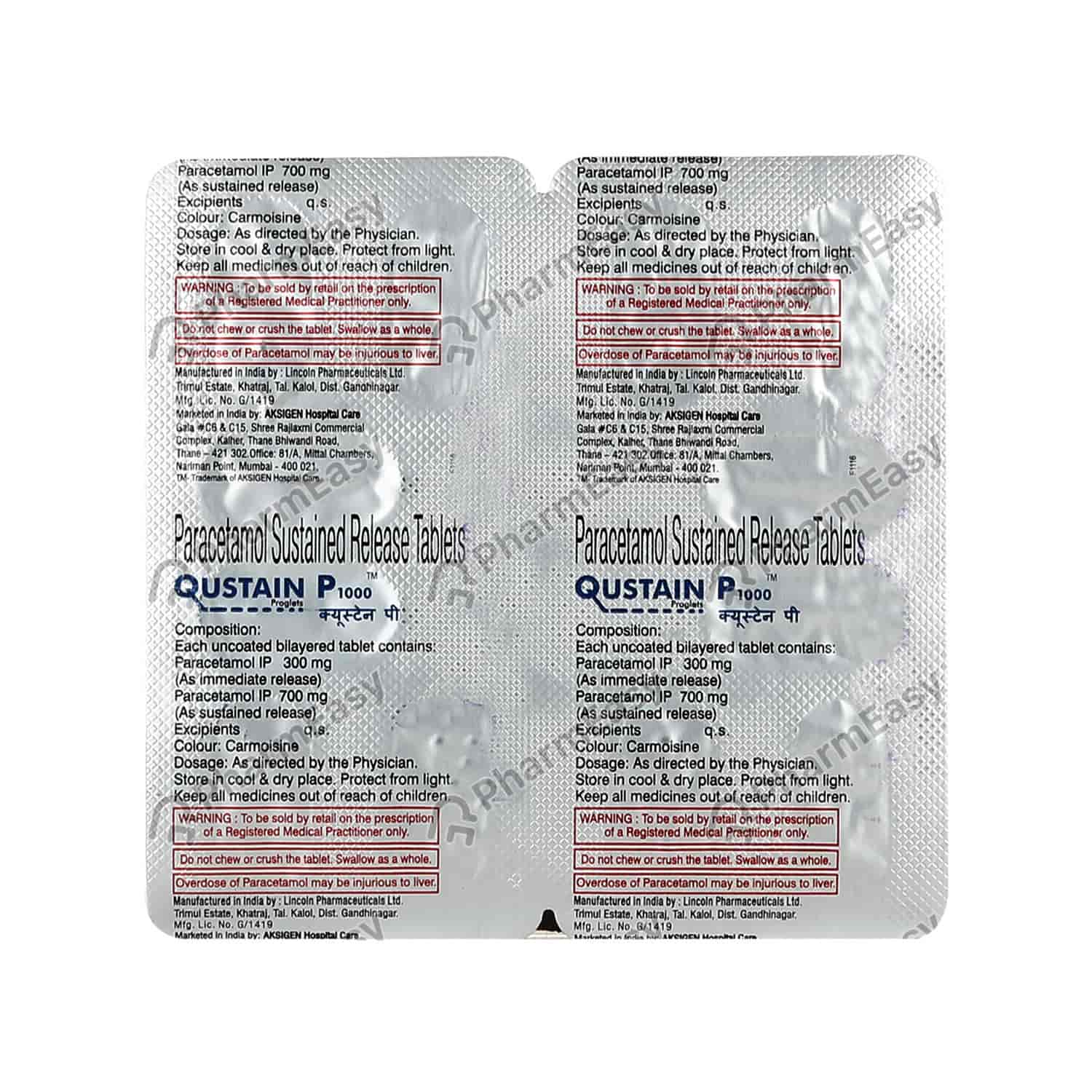 Qustain P 1gm Strip Of 12 Tablets