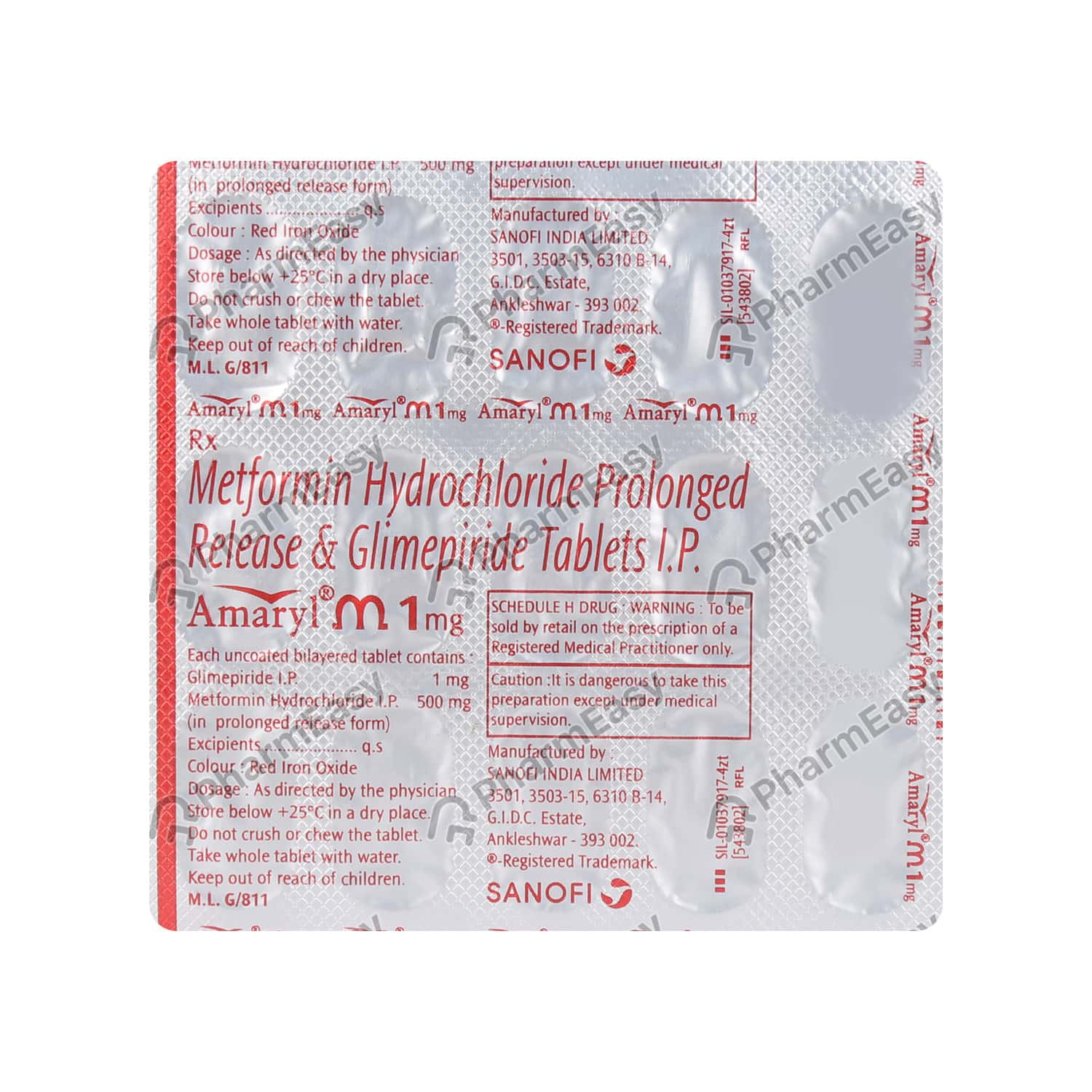 Amaryl M 1mg Strip Of 15 Tablets