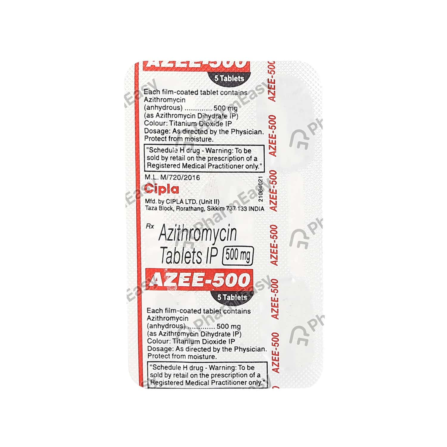 Azee 500mg Strip Of 5 Tablets