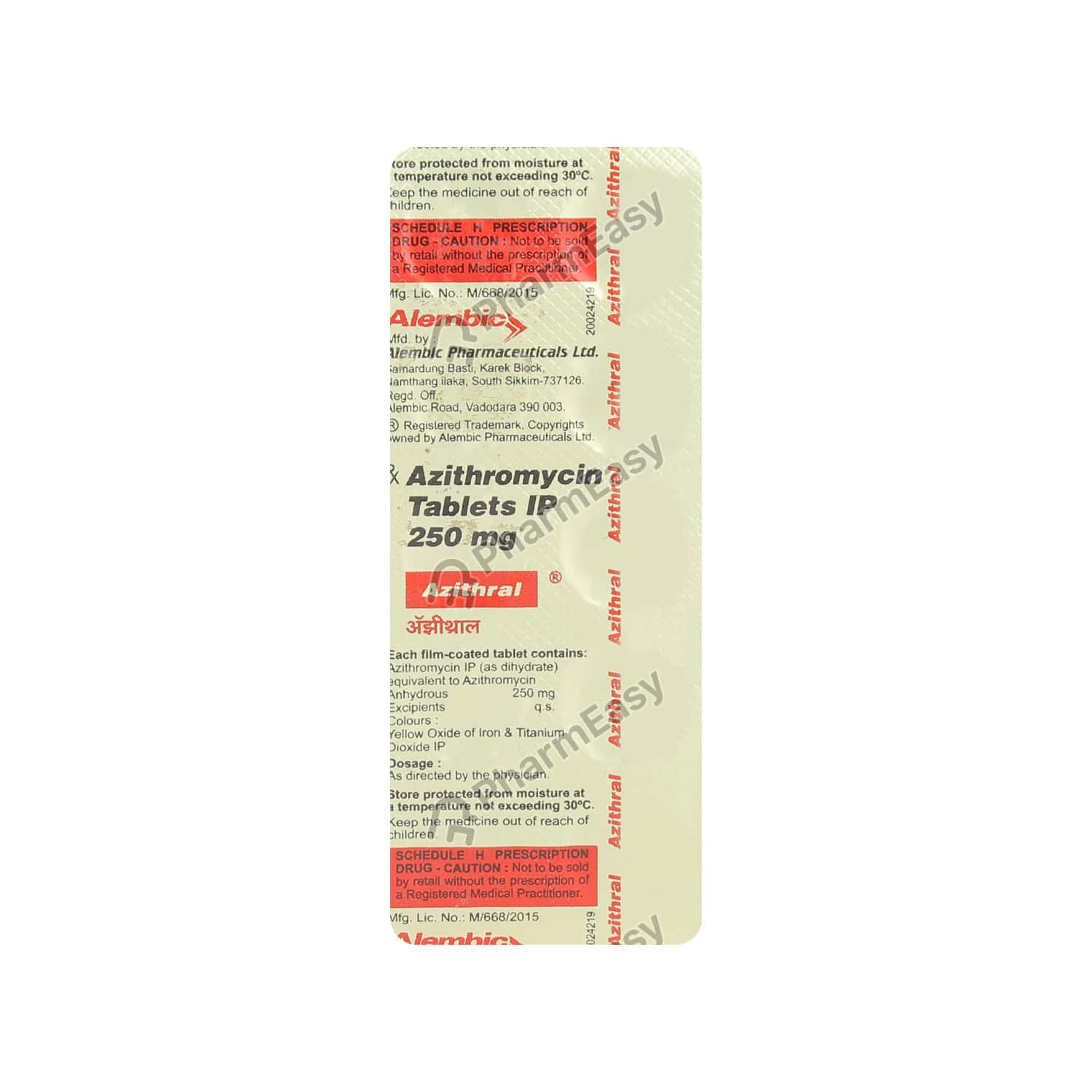Azithral 250mg Strip Of 10 Tablets