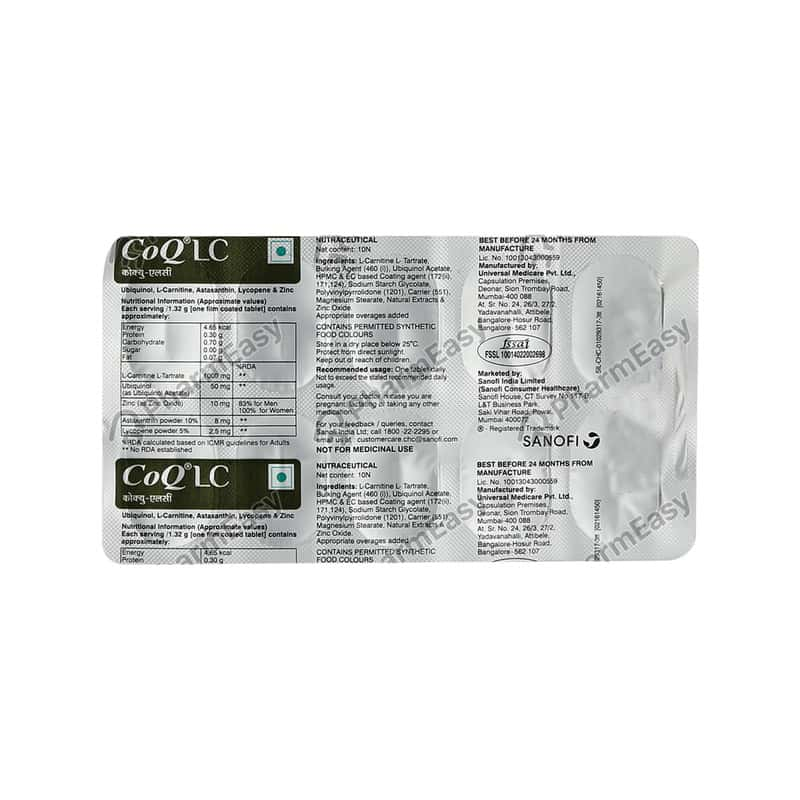 Coq Lc Mitochondrial Energiser Tablet 10's