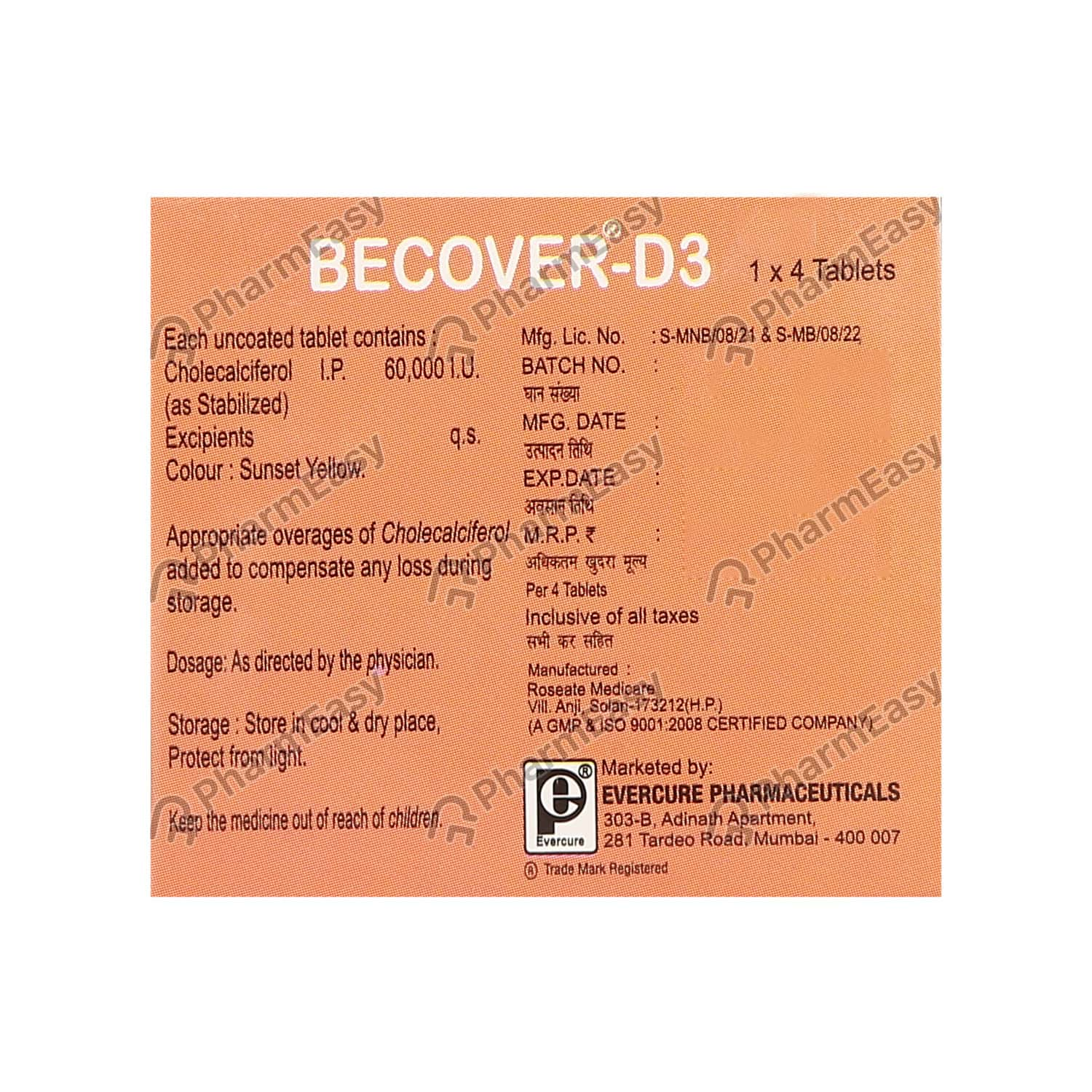 Becover D3 Strip Of 4 Tablets