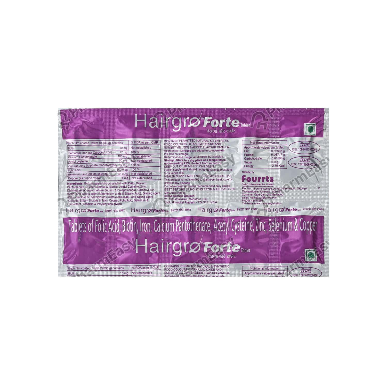 Hairgro Forte Strip Of 10 Tablets