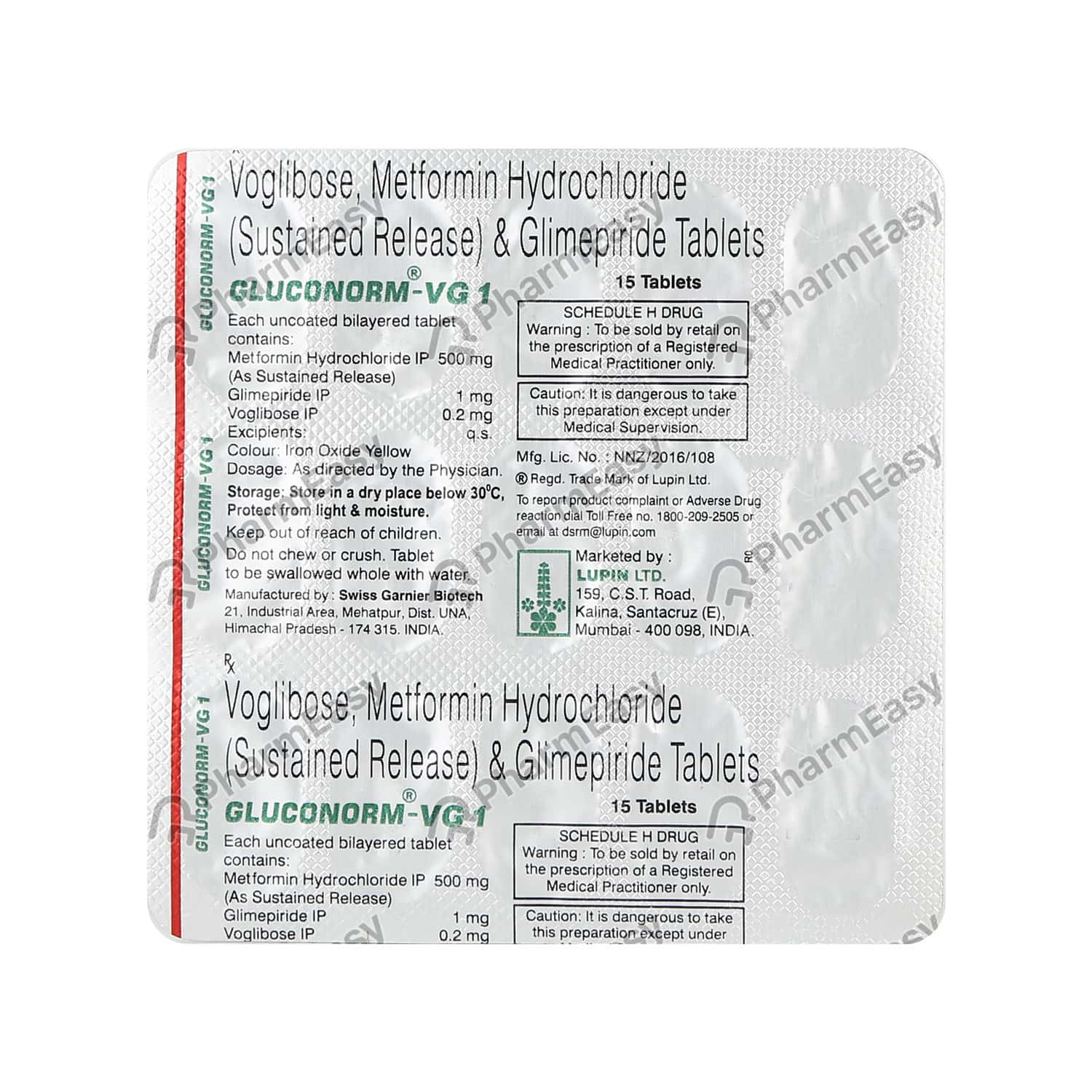 Gluconorm Vg 1mg Strip Of 15 Tablets