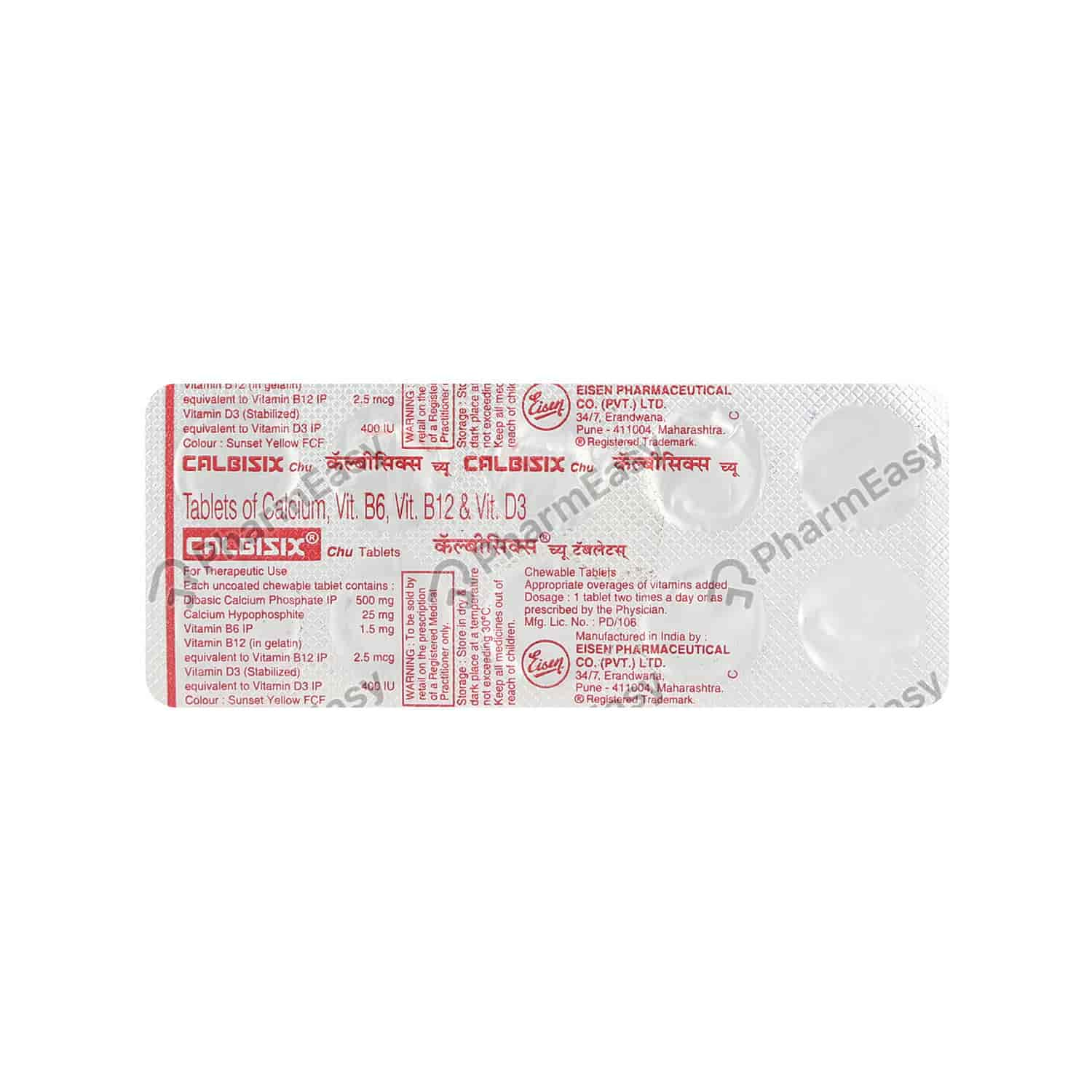 Calbisix Chu Strip Of 10 Tablets