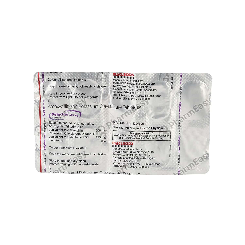 Polyclav 625mg Strip Of 10 Tablets