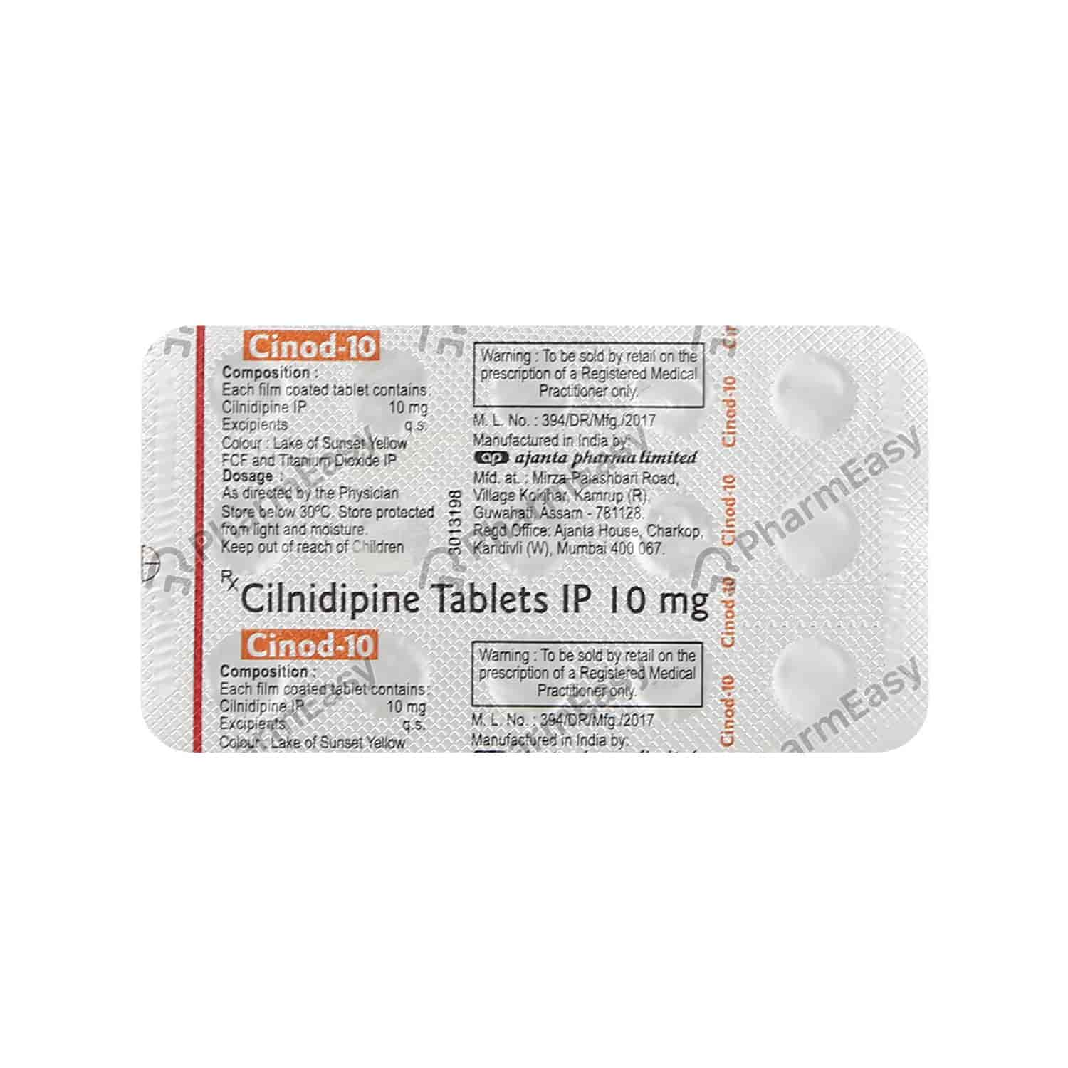 Cinod 10mg Strip Of 15 Tablets