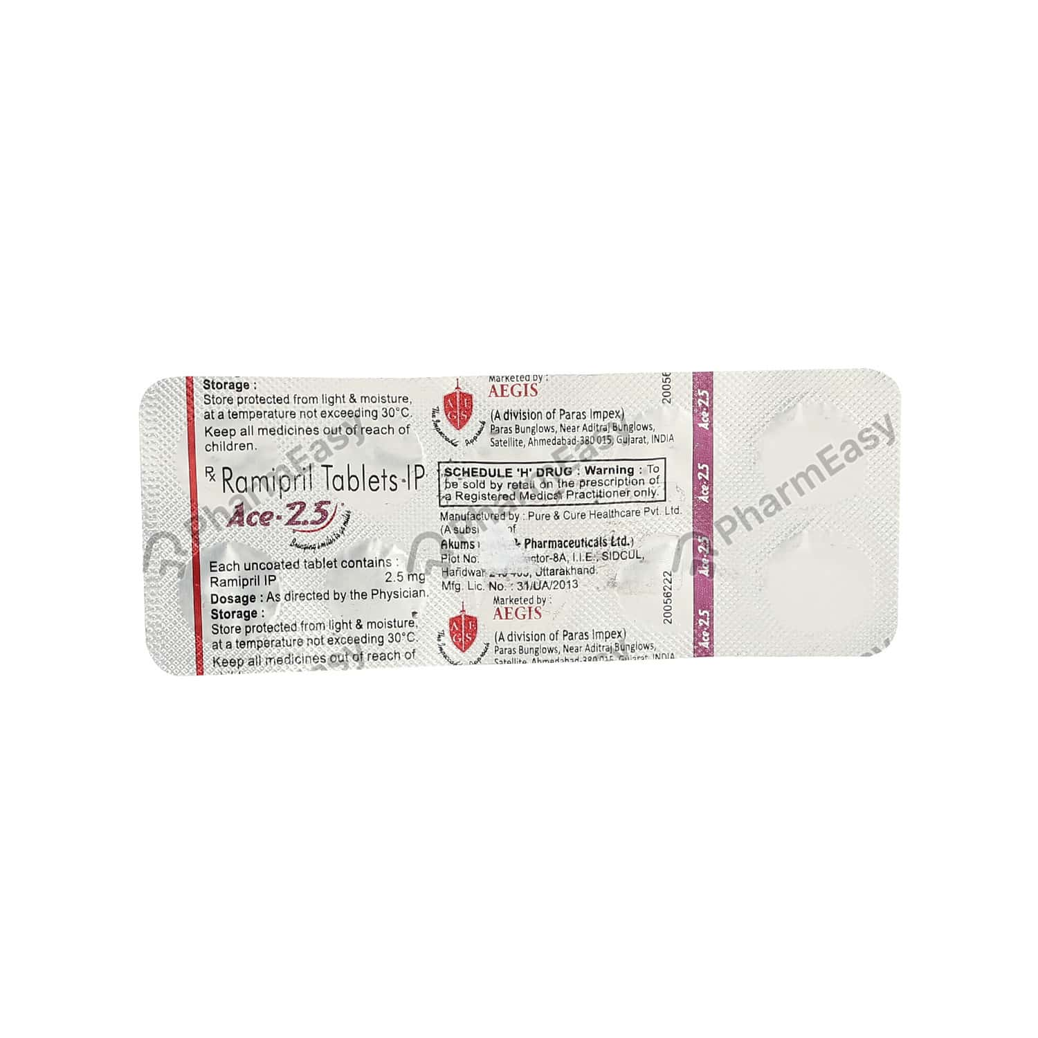 Ace 2.5mg Strip Of 10 Tablets